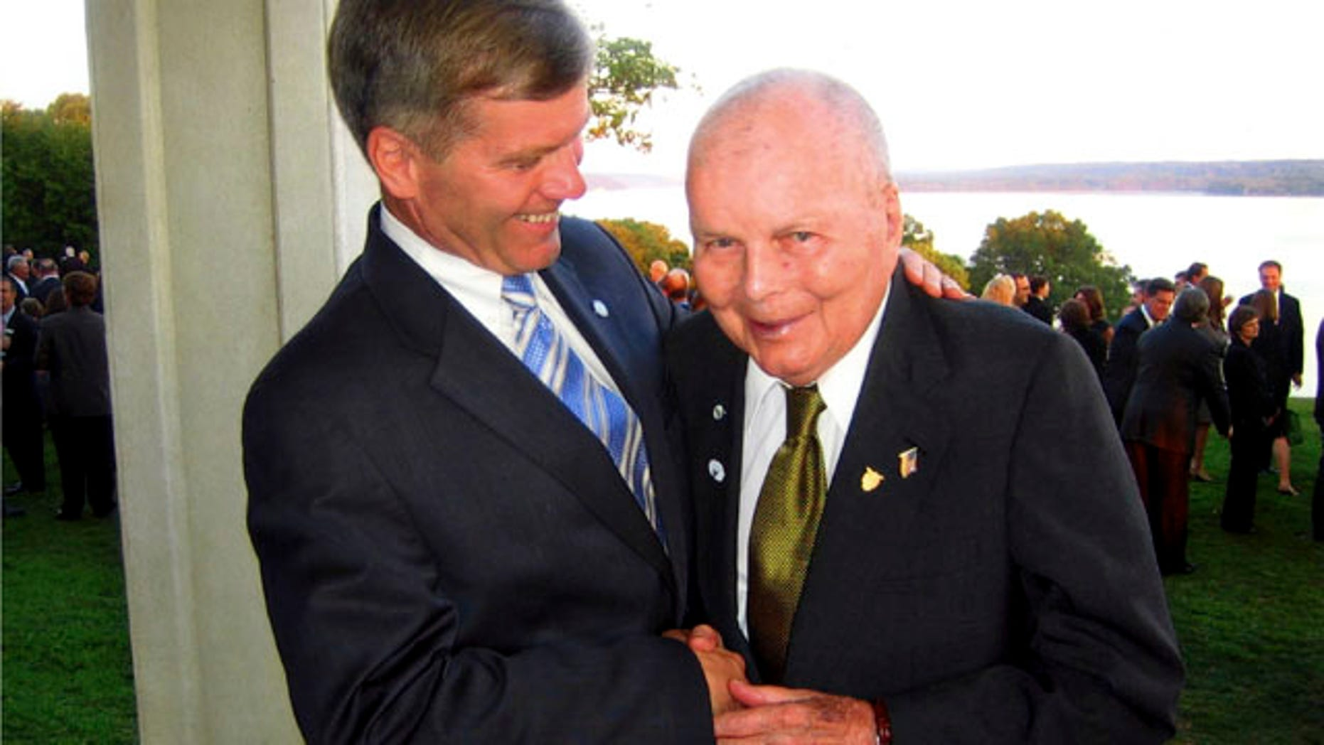 This 2006 file photo provided by the office of the Governor of Virginia, shows Virginia Gov. Bob McDonnell, left, with his father, John, in Mt. Vernon, Va.