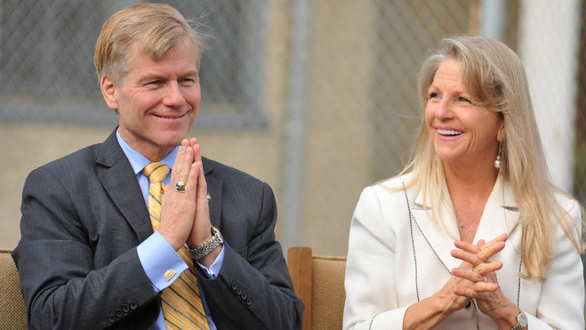 FILE: Oct. 22, 2013: Then-Virginia Gov. Bob McDonnell and wife Maureen at Saint Joseph School in Petersburg, Va.