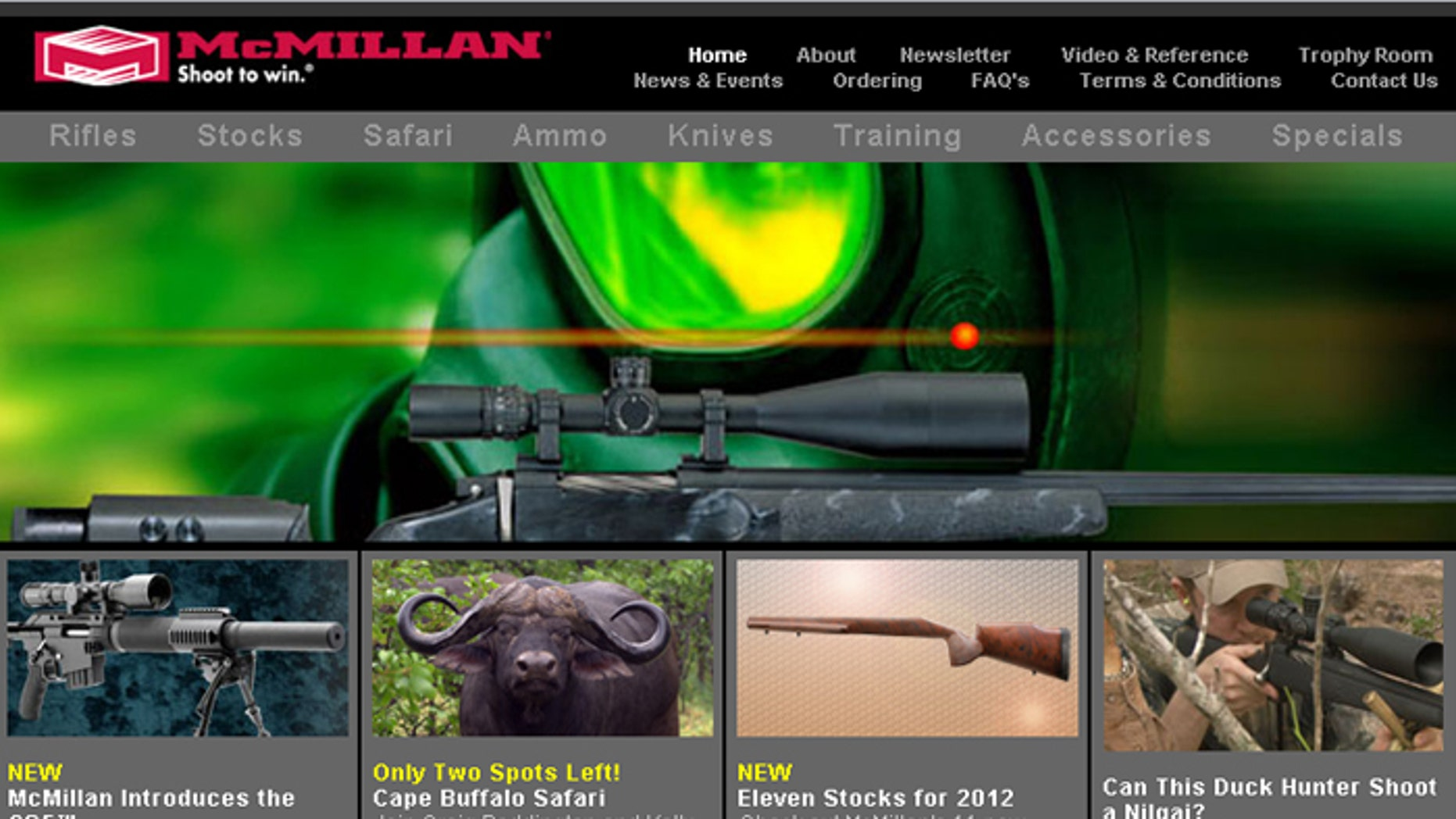 This screenshot shows the website for McMillian, a gun manufacturer that says Bank of America objected to its type of business.