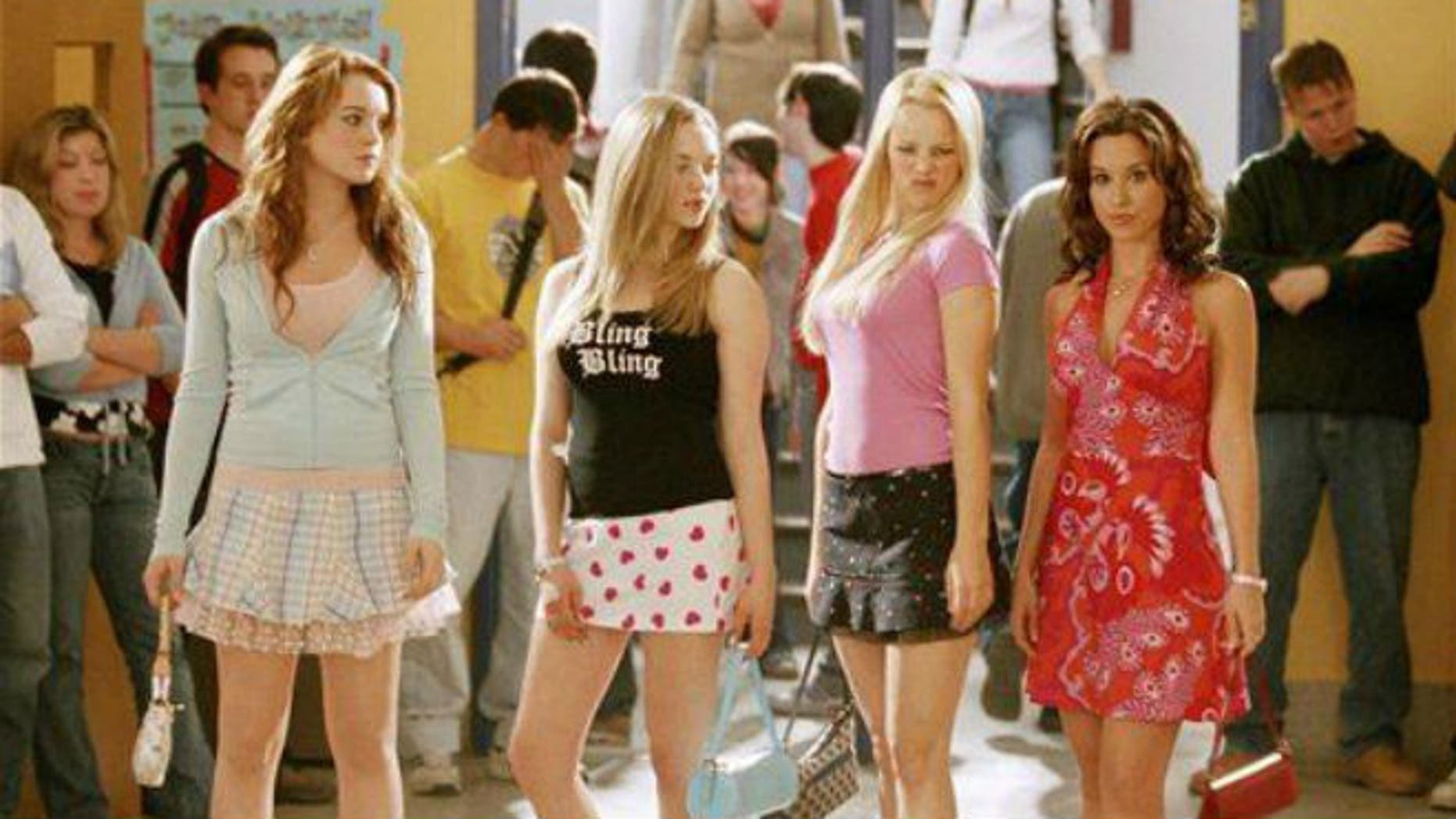 """From left, Lindsay Lohan, Amanda Seyfried, Rachel McAdams, and Lacey Chabert are shown in a scene from """"Mean Girls."""""""