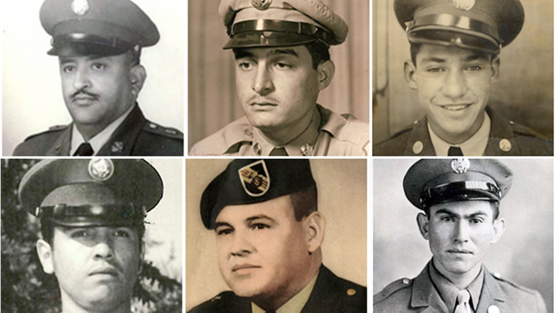 Following a congressionally-mandated review to ensure that eligible recipients were not bypassed due to prejudice Pres. Obama will award the Medal of Honor on March 18, 2014, to 24 Army veterans, including, clockwise from top left: Sgt. 1st Class Eduardo Corral Gomez, Master Sgt. Juan E. Negron, Master Sgt. Mike C. Pena, Pvt. Pedro Cano, Sgt. 1st Class Jose Rodela and Spec. 4 Santiago J. Erevia. (AP Photo/U.S. Army)