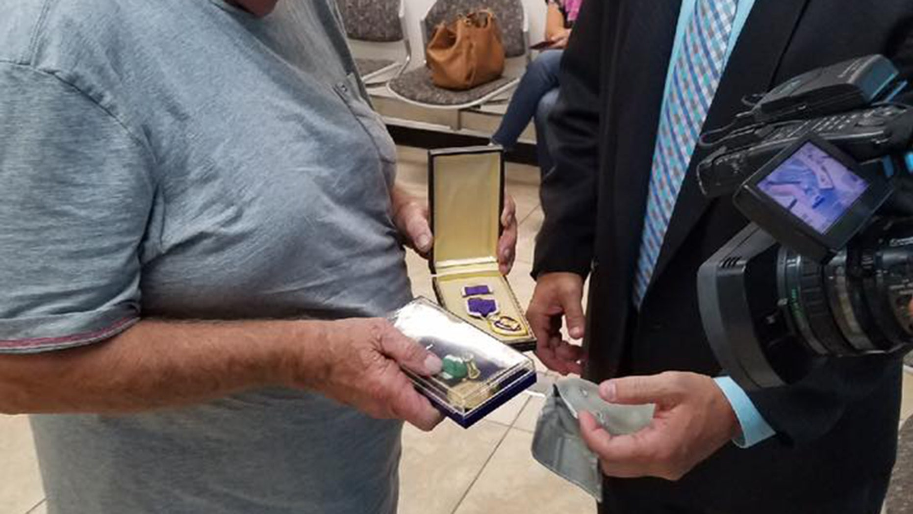 A Vietnam veteran was reunited with his war medals after they were stumbled across by another veteran.
