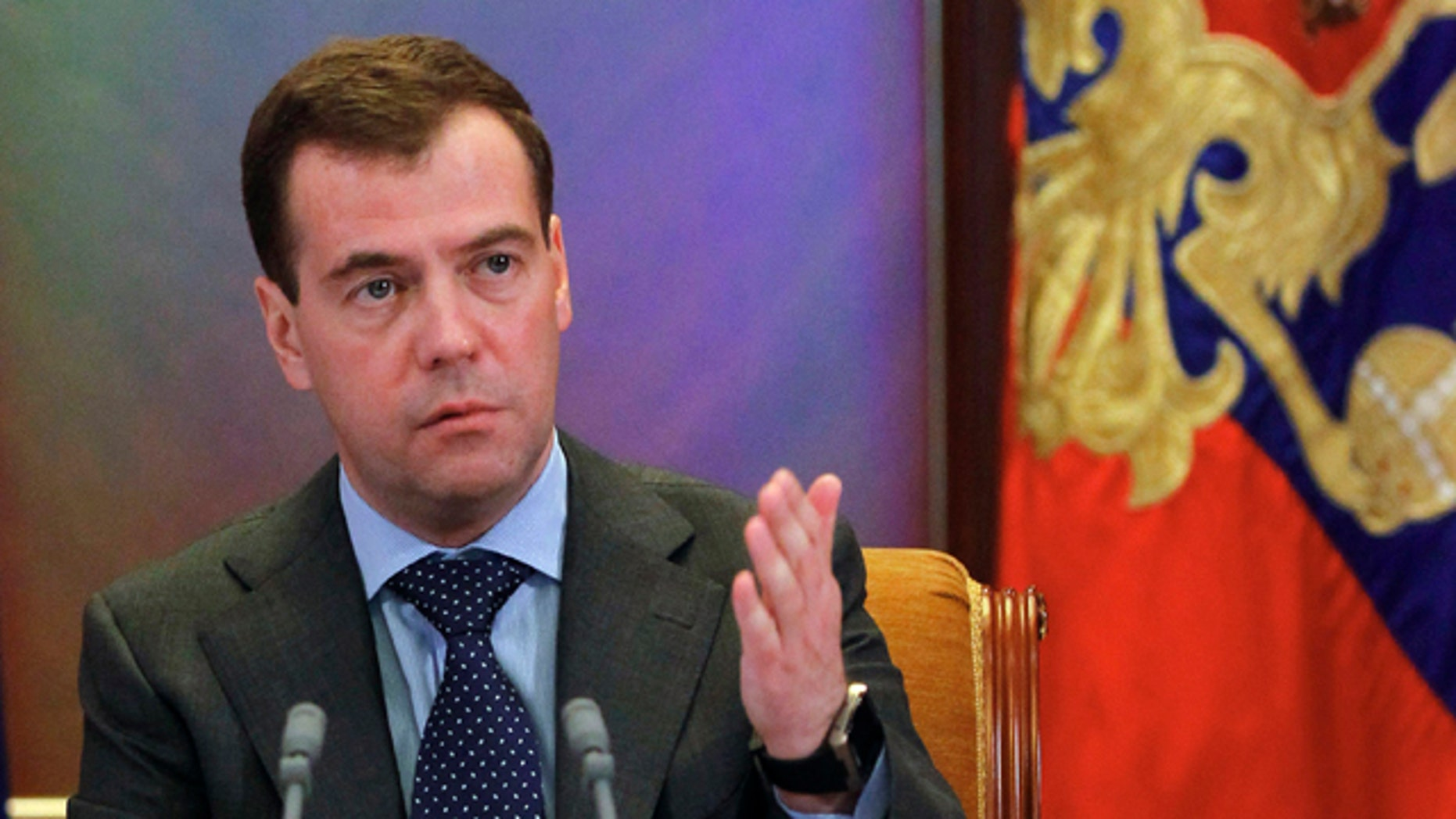 March 21: Russian President Dmitry Medvedev gestures while speaking during a meeting at the Gorki residence outside Moscow. Medvedev rebuked Prime Minister Vladimir Putin who called the UN-approved military operation against Libya a 'crusade.'