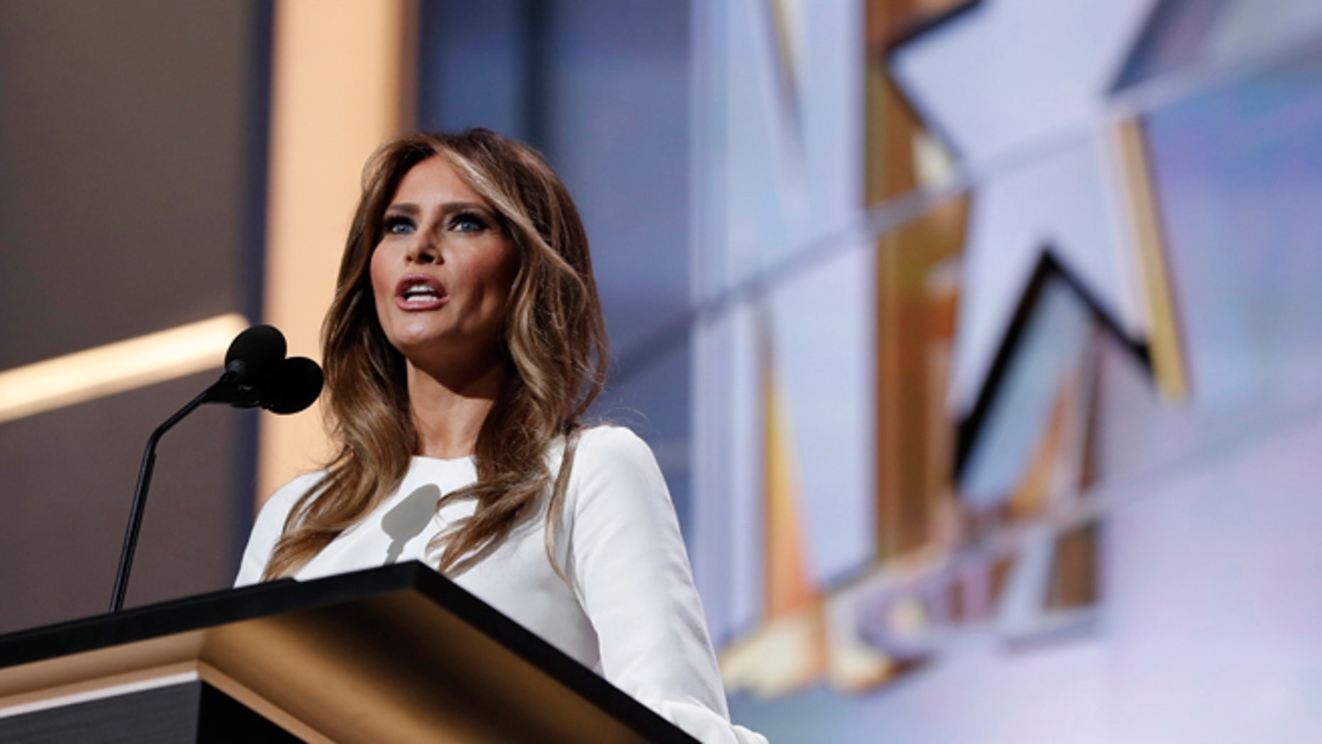 Melania Trump, wife of Republican Presidential Candidate Donald Trump, in the first day of the RNC in Cleveland, on July 18, 2016.