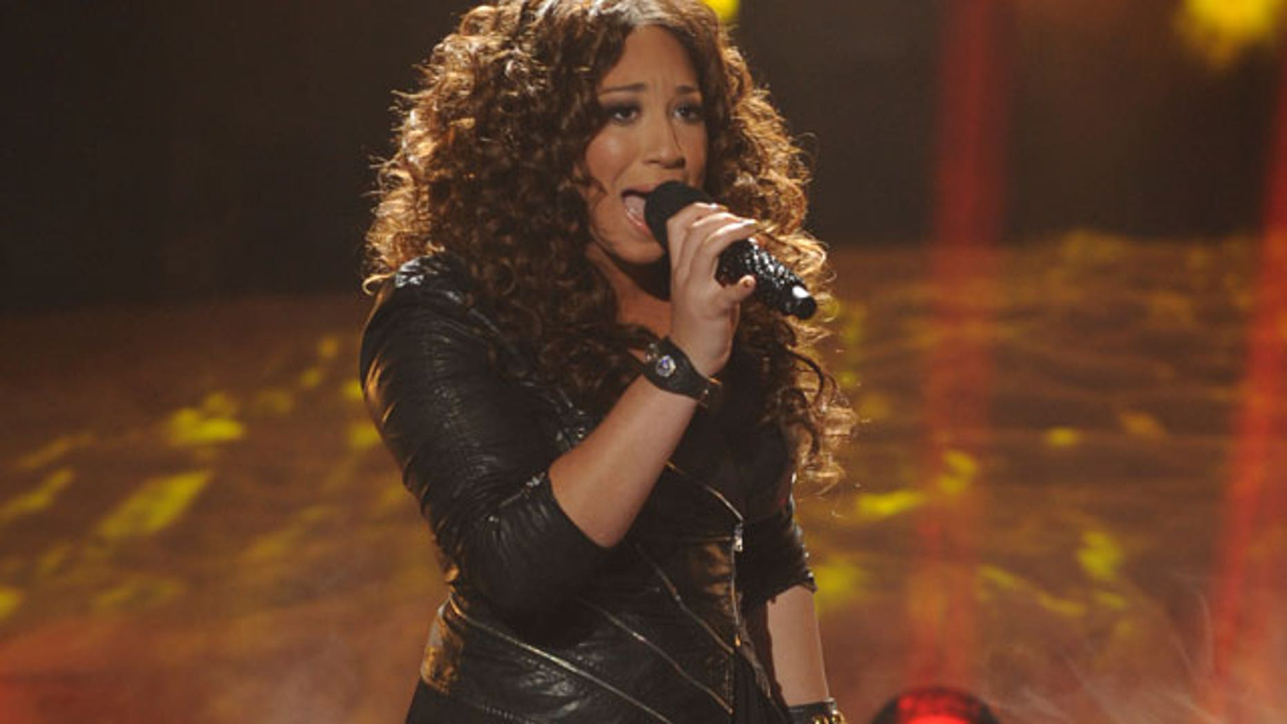 "In this Nov. 30, 2011 file photo released by FOX, Melanie Amaro performs on the singing competition series, ""The X Factor,"" in Los Angeles. (AP)"
