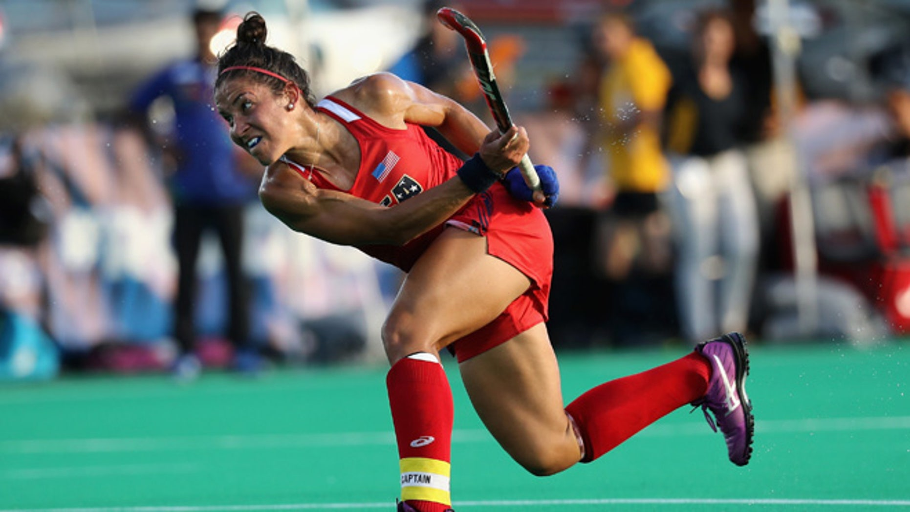 MANHEIM, PA - JULY 18:  Melissa Gonzalez #5 of Team USA takes a shot against Team India in the first half during a field hockey match in preparation for the upcoming Rio Olympics on July 18, 2016 in  Manheim, Pennsylvania.  (Photo by Rob Carr/Getty Images)