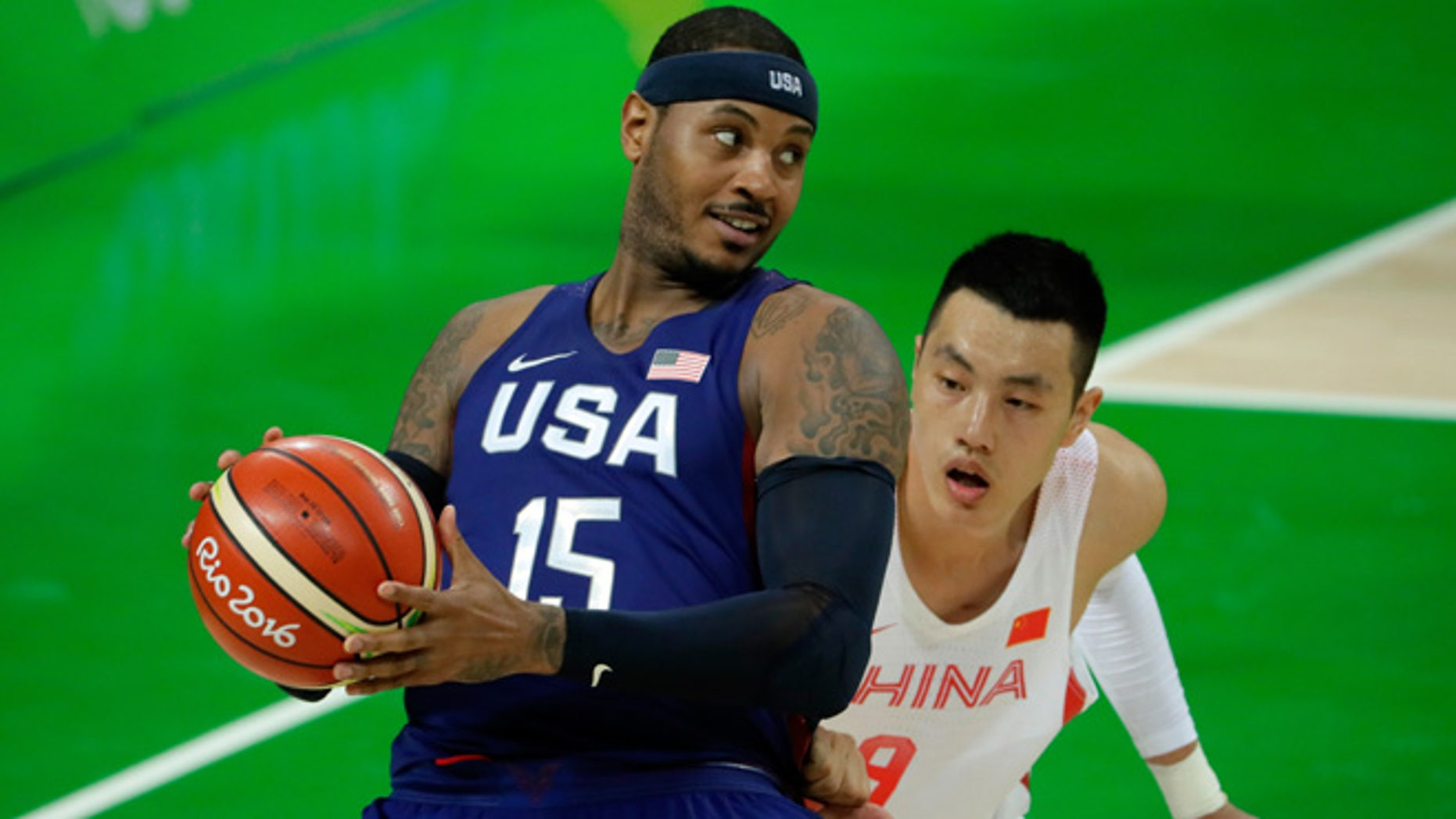 Carmelo Anthony on Day 1 of the Rio 2016 Olympic Games at Carioca Arena 1 on August 6, 2016 in Rio de Janeiro, Brazil.
