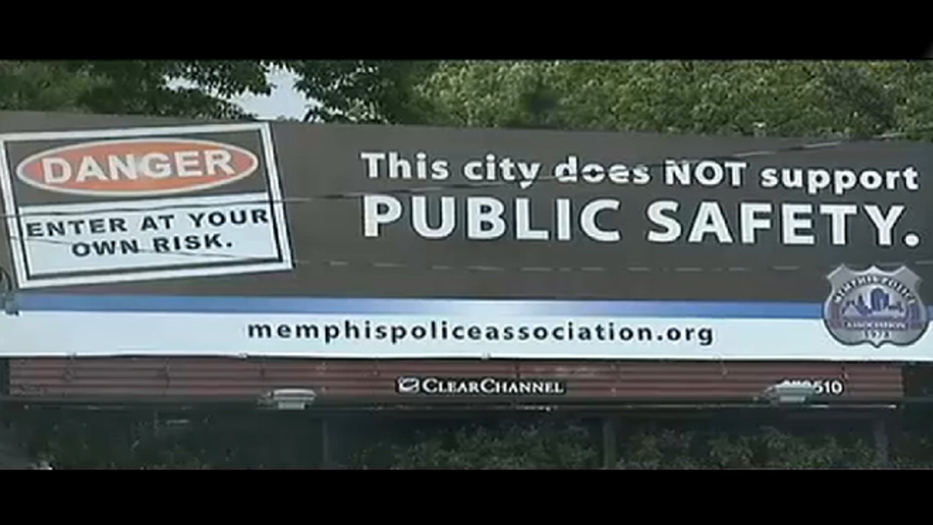 This photo shows a billboard put up by the Memphis Police Association as part of a public campaign they say is to protect jobs and benefits.