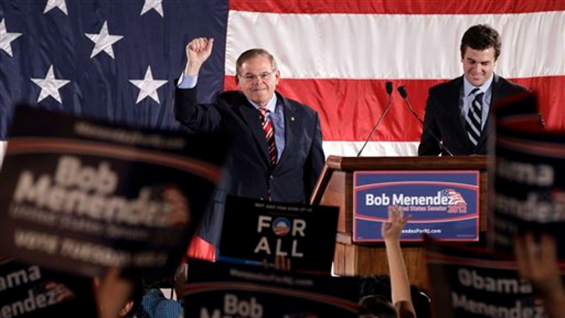 Nov. 6, 2012: Incumbent Democratic Sen. Robert Menendez, D-N.J., celebrates with a crowd.