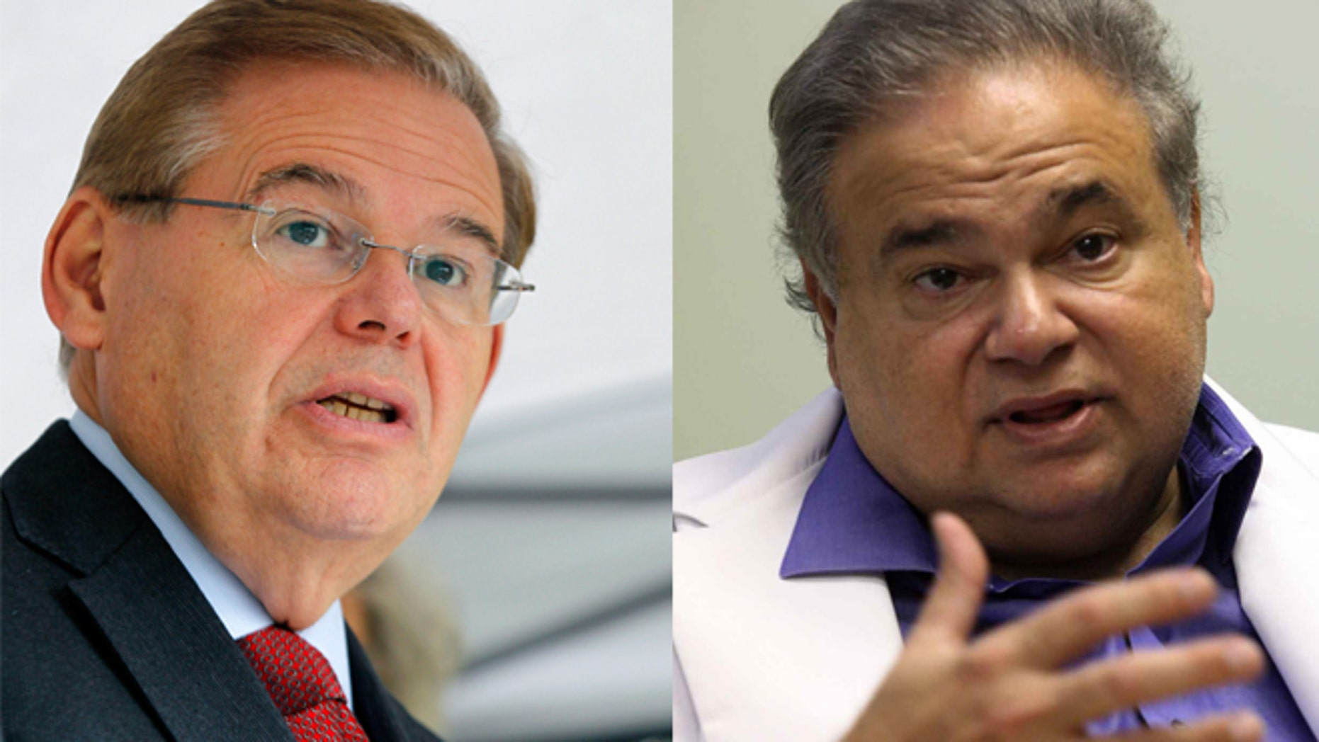 Senator Robert Menendez (D-NJ) on the left and Dr. Salomon Melgen, a Florida eye doctor of Dominican descent who is a prominent Democratic campaign contributor.