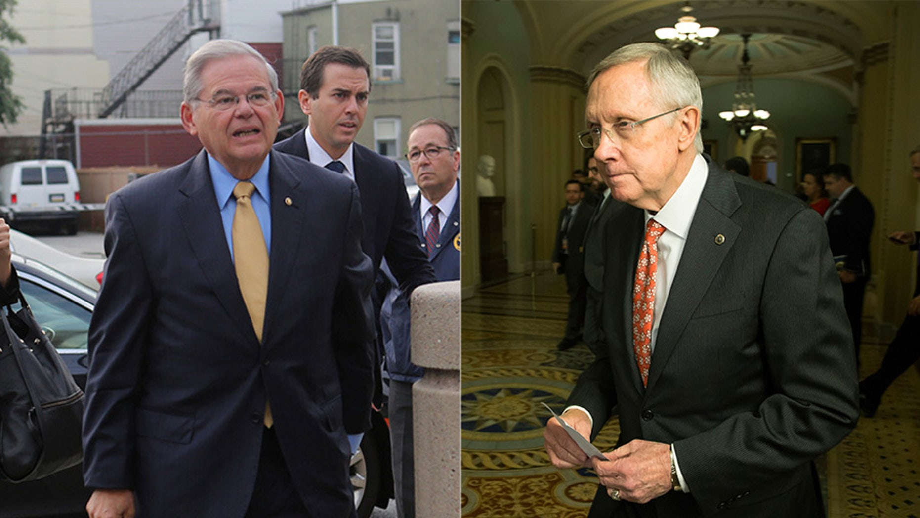 At left, Sen. Bob Menendez, D-N.J.; at right, former Senate Democratic Leader Harry Reid, D-Nev.