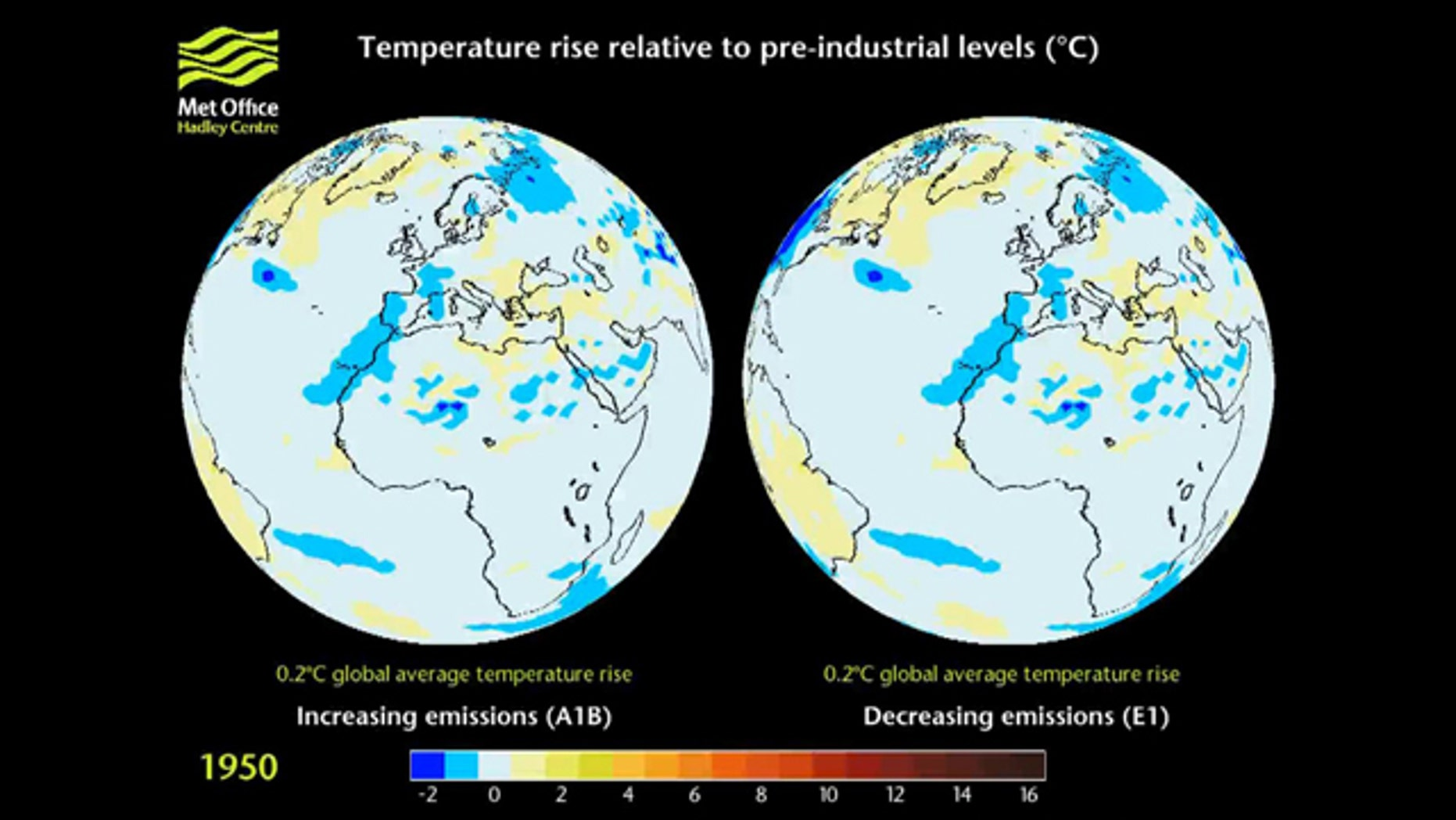 Met Office Hadley Centre projections of temperature change relative to pre-industrial levels, under two different emissions scenarios. Now the agency is proposing starting its climate models scratch.