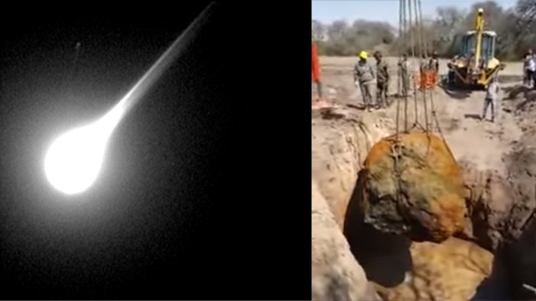 A meteorite entering the Earth's atmosphere (left), and the Gancedo meteorite found in Argentina. (Images: Left, photo by George Varros and Dr. Peter Jenniskens/NASA/Getty Images; right, screen grab from video released by Argentine government.)