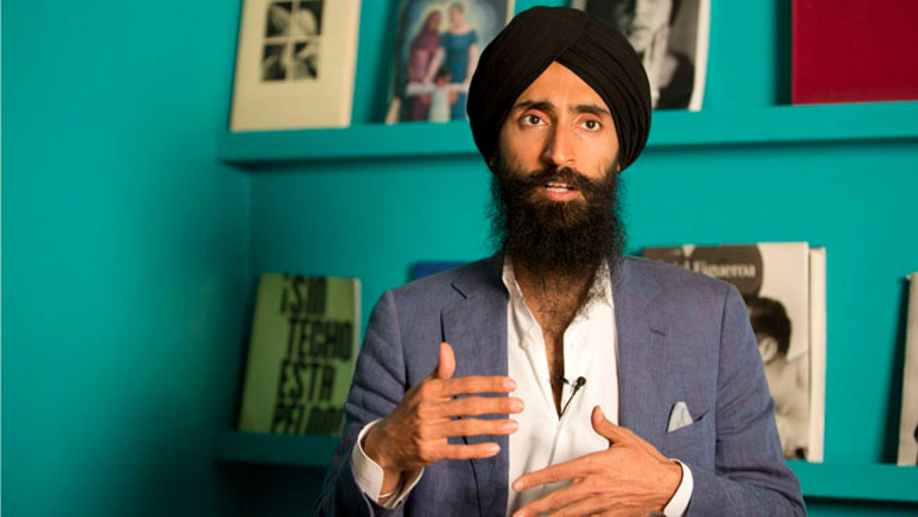 Waris Ahluwalia, a member of the Sikh community, gives an interview in Mexico City, Tuesday, Feb. 9, 2016.