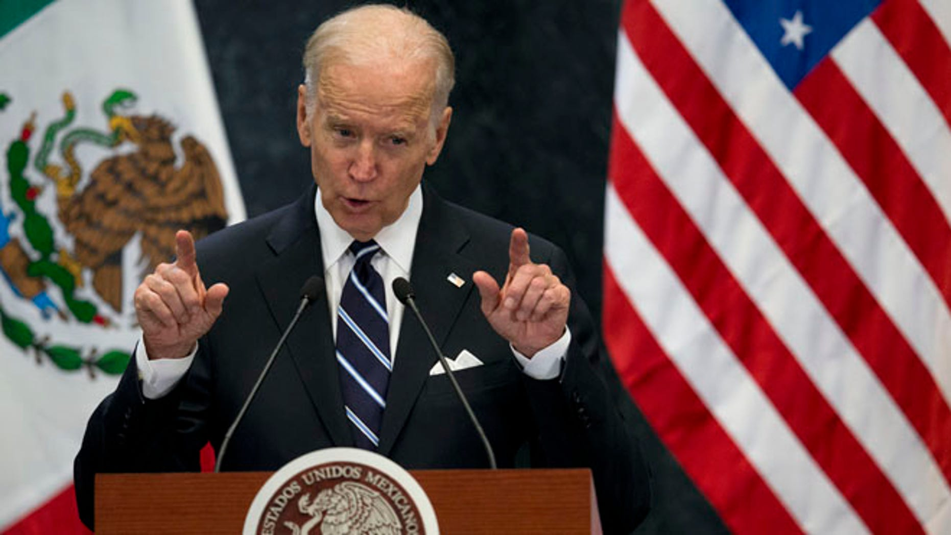 U.S. Vice President Joe Biden speaks during a joint message to the press with Mexican President Enrique Pena Nieto, in Mexico City, Thursday, Feb. 25, 2016. Biden led a high-level U.S. delegation for annual talks on boosting economic and commercial ties with Mexico, one of the United States' top trading partners. (AP Photo/Rebecca Blackwell)