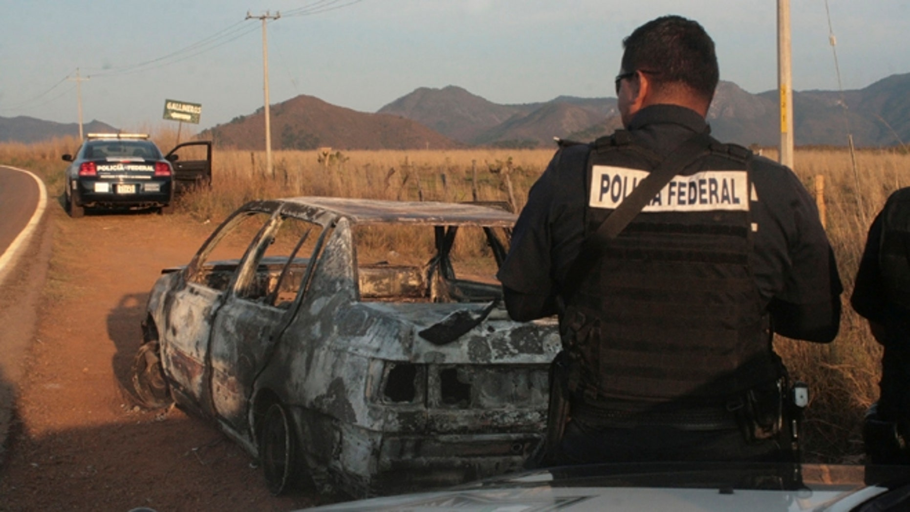 Federal police stand next to a bullet riddled and burned car after a criminal gang ambushed a police convoy near the town of Soyatlan, near Puerto Vallarta, Mexico, Monday, April 6, 2015. (AP Photo)