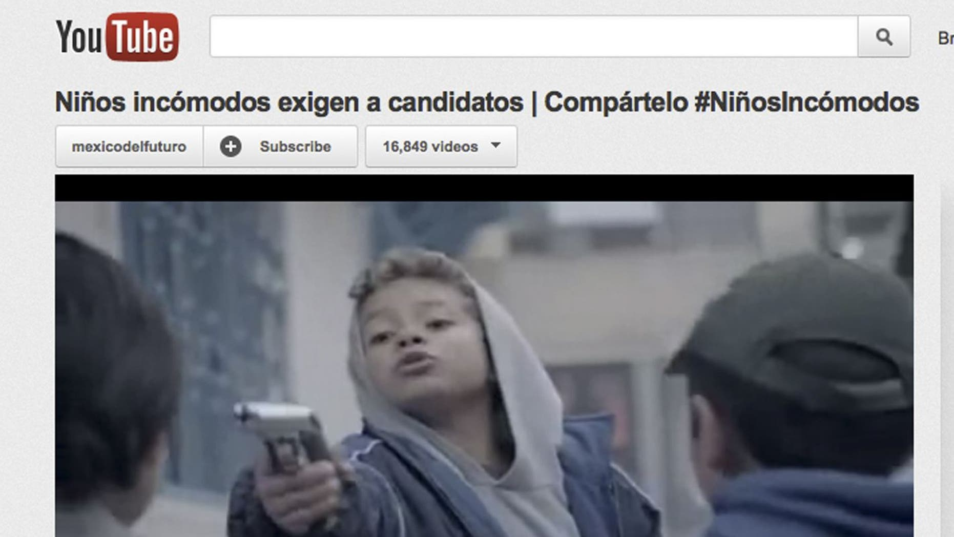 """In this still image of a computer screen showing the YouTube website displaying a video """"mockumentary"""" entitled """"Ninos Incomodos,"""" roughly """"Discomforting Kids,"""" that shows children as kidnappers, corrupt cops and drug traffickers, is seen, in Mexico City, Thursday April 12, 2012. Produced by a foundation supported by private companies and universities and distributed over the Internet, the video, which has sparked a fierce debate in violence-torn Mexico, ends with a direct message to the candidates in the Mexico's July 1 presidential race. (AP Photo)"""