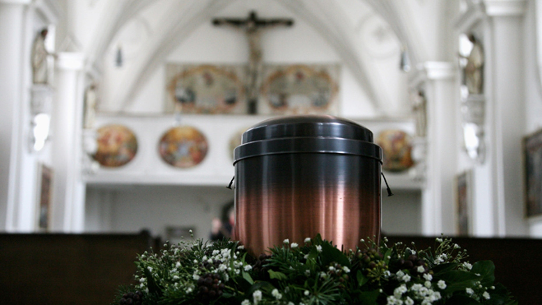 BERNRIED, GERMANY - FEBRUARY 28:  The urn of the defunct writer Lothar-Guenther Buchheim stands in the Hofmarkkirche church on February 28, 2007, in Bernried, Germany. The funeral will take place in the early afternoon.  (Photo by Johannes Simon/Getty Images)