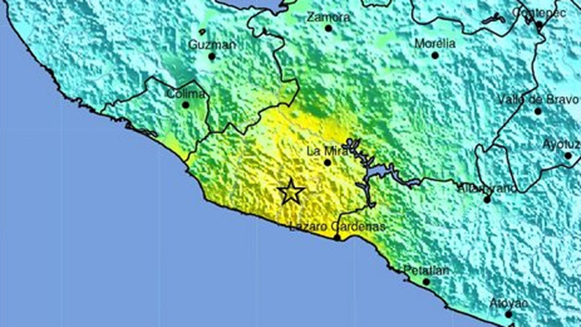 This map shows the location of a magnitude 7.0 earthquake that struck off the coast of Mexico on April 11, 2012.