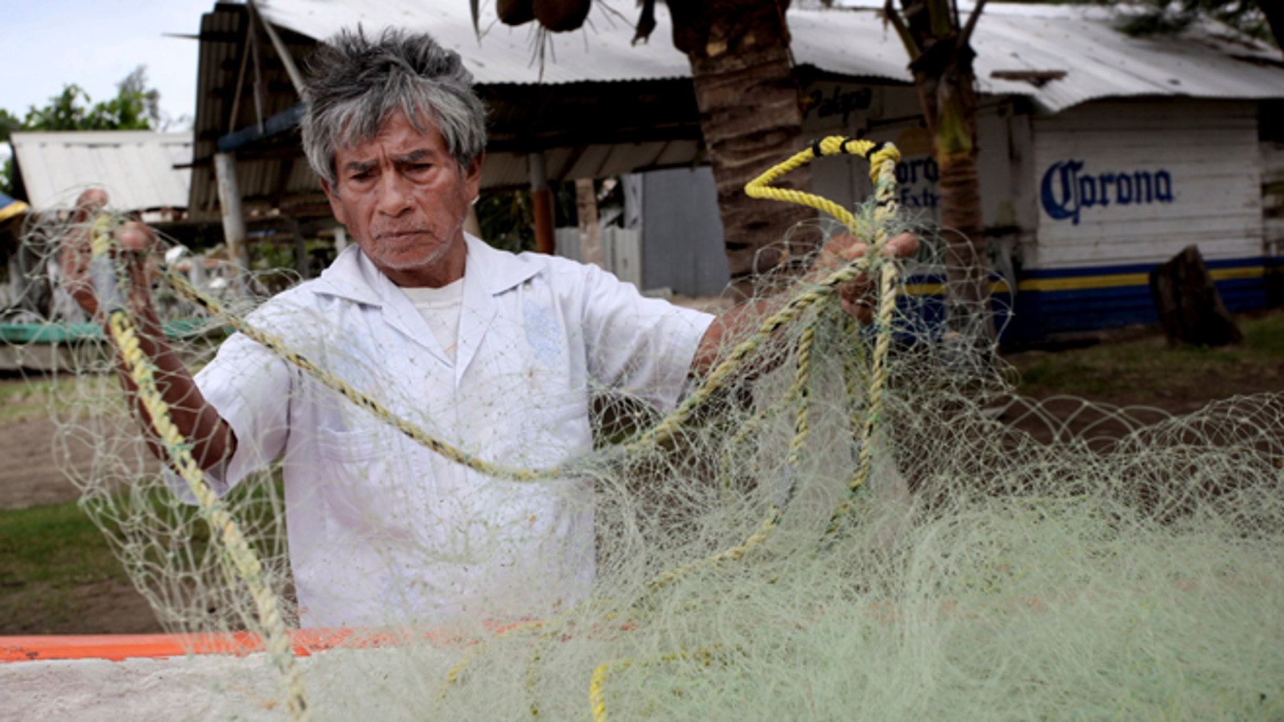 In this Nov. 9, 2013 photo, fisherman Raul Hurtado, 64, checks his nets outside of his small shack where he sells seafood in the port city of Veracruz, Mexico. Hurtado is a local legend, the man who found and lost millions of dollarsâ worth of Aztec gold almost four decades ago, was tossed in prison, then found peace making $150 a month selling octopus and other seafood from a thatched-roof shack. (AP Photo/Felix Marquez)