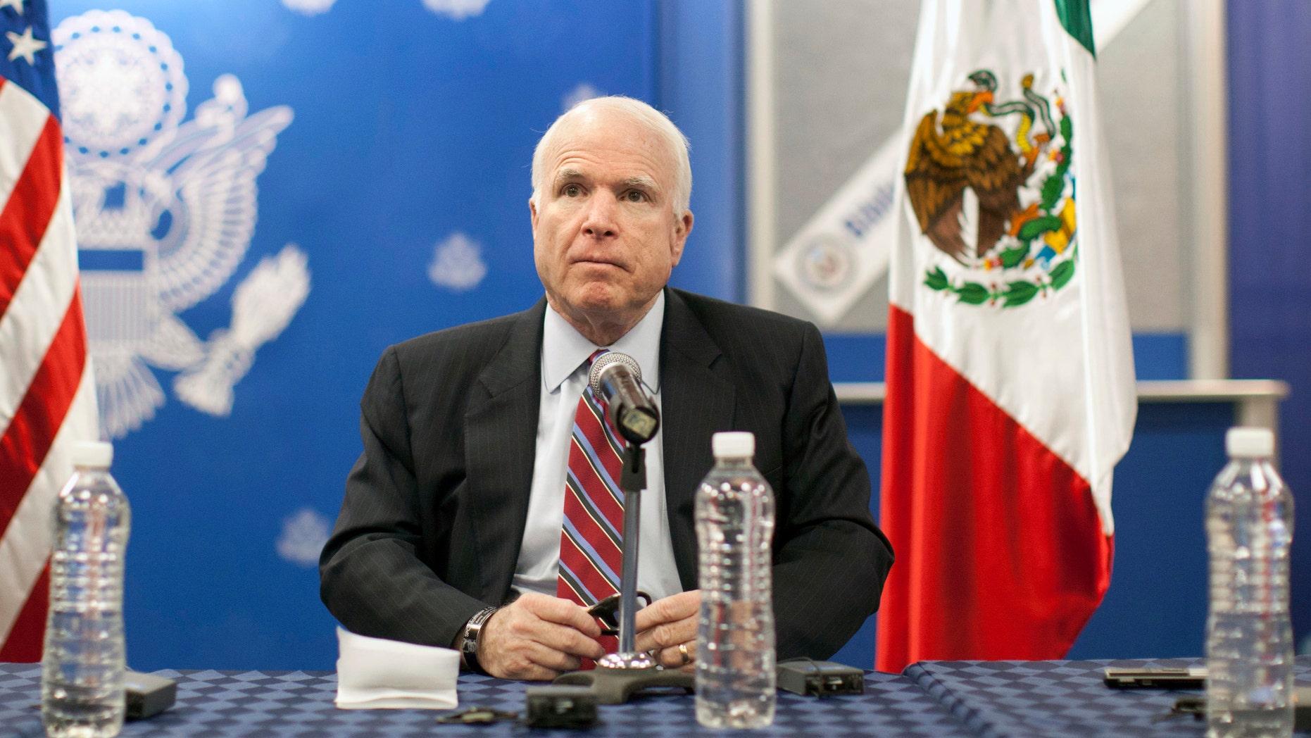Republican Sen. John McCain, from Arizona, pauses during a press conference in Mexico City, Friday, Feb. 22, 2013.  (AP Photo/Alexandre Meneghini)