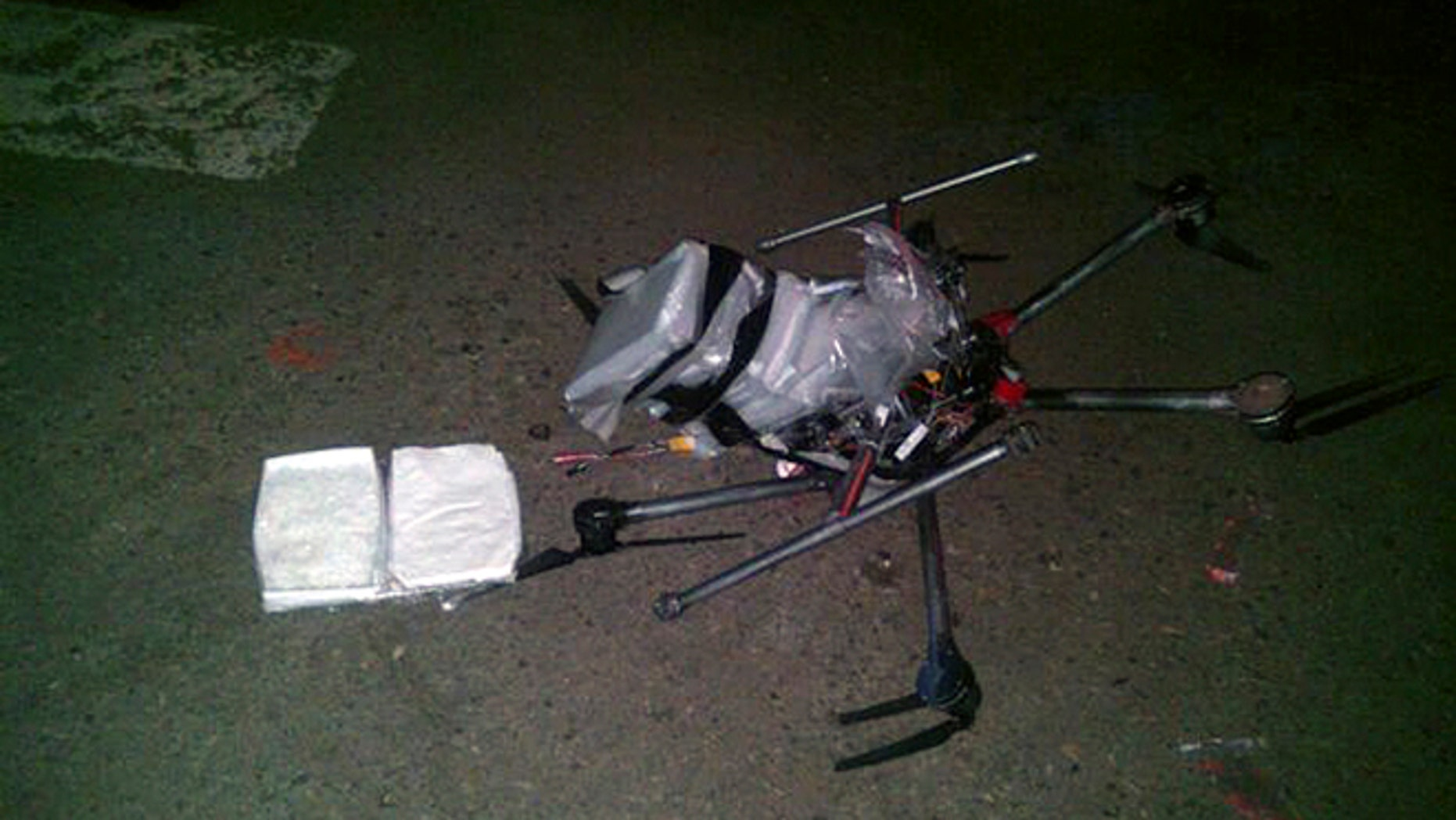 A drone loaded with methamphetamine crashed into a parking lot in Tijuana on Tuesday Jan. 20, 2015.