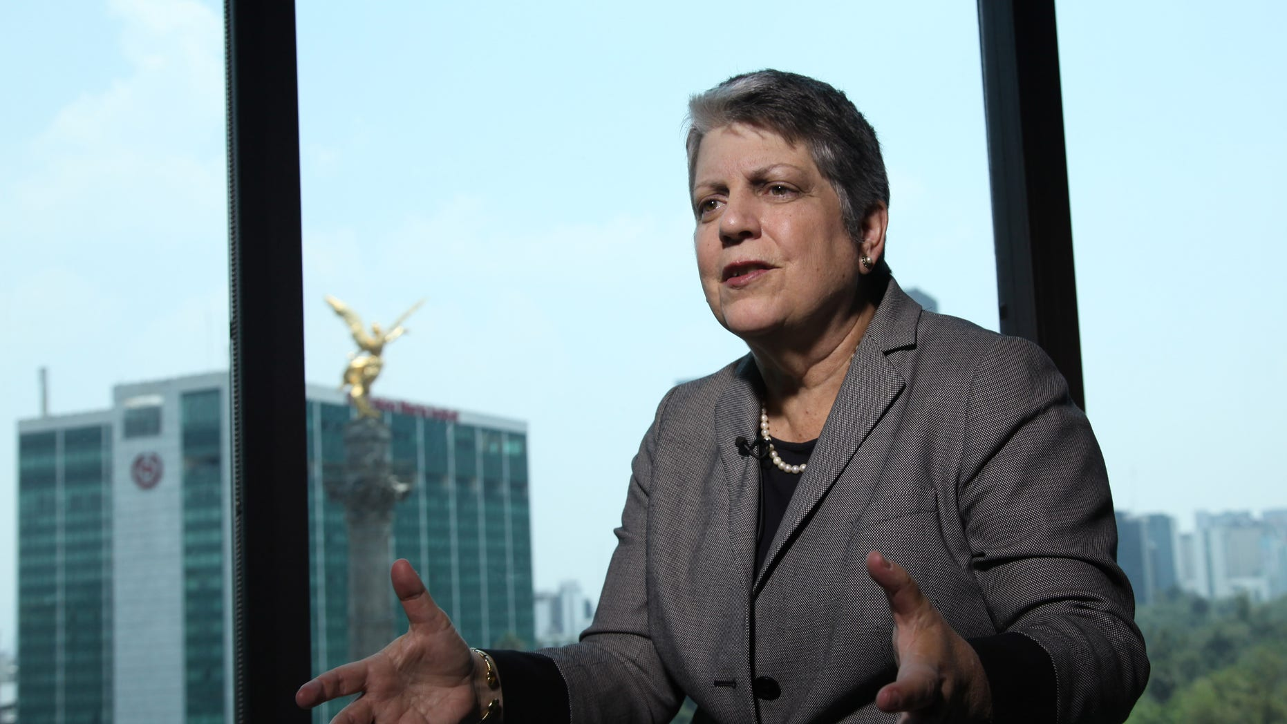 """University of California President Janet Napolitano speaks during an interview with The Associated Press in Mexico City, Wednesday May 21, 2014. The former U.S. secretary of homeland security says political calls for more walls and policing at the U.S.-Mexico border is a """"straw man"""" designed to defeat immigration reform. (AP Photo/Marco Ugarte)"""