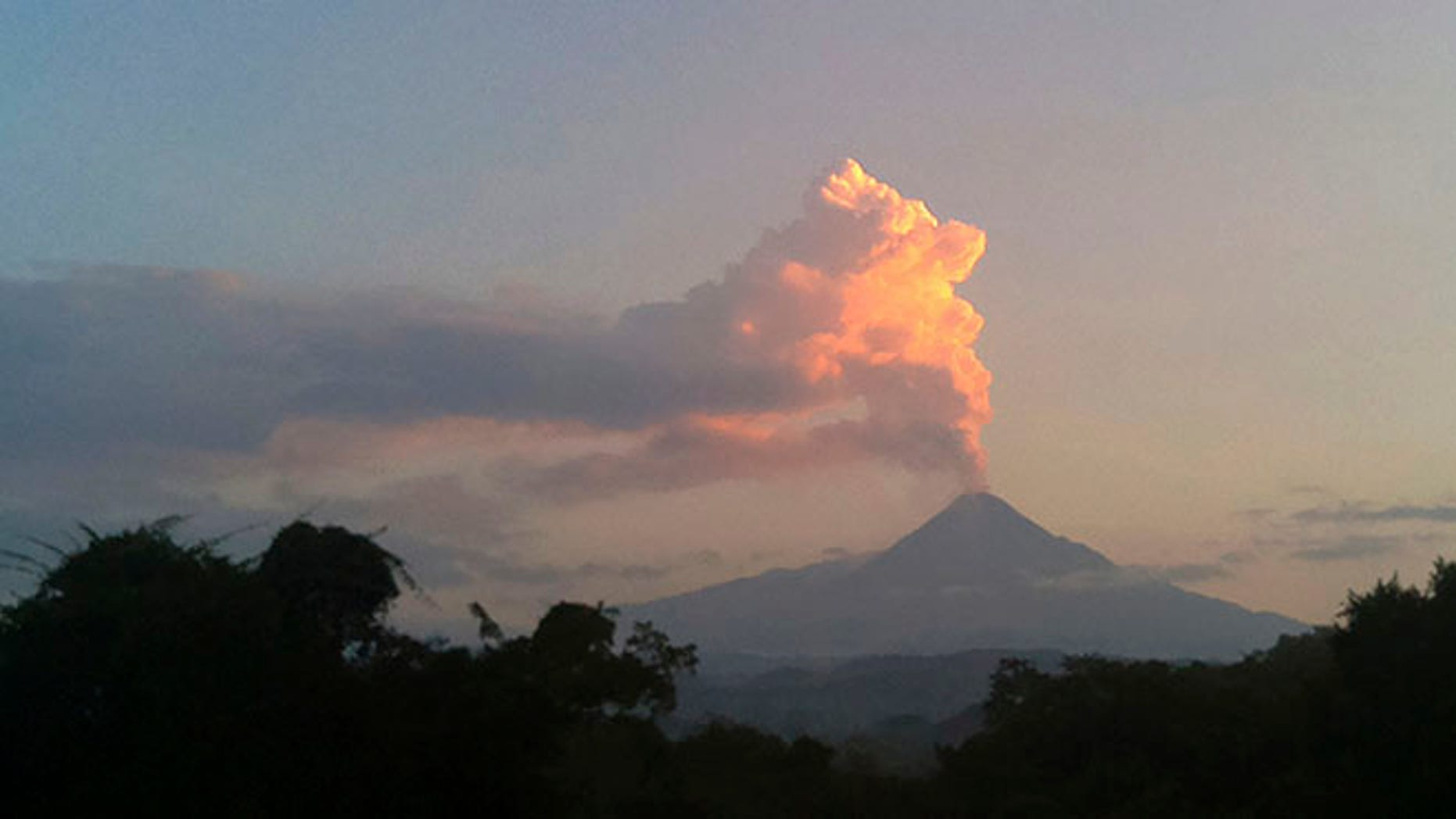 Steam and ash rises from the Colima volcano Friday, Oct. 30, 2016.