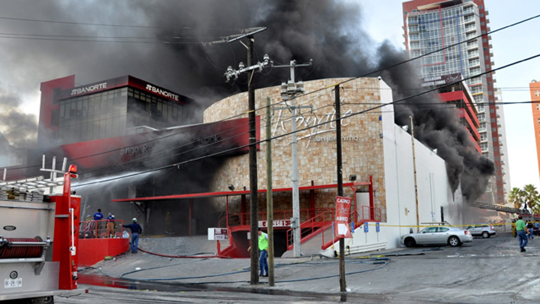 Aug. 25: Smoke billows from the Casino Royale in Monterrey, Mexico.