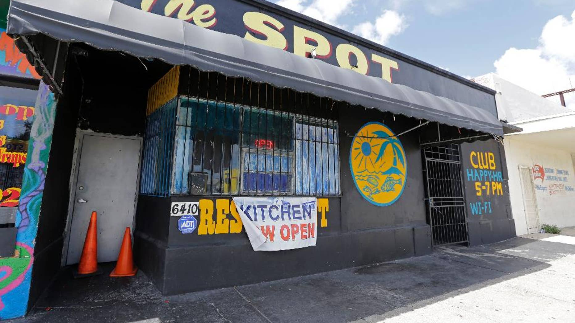 The Spot, a club in Miami, Fla., where at least 15 people were wounded in a shooting early Sunday, Sept. 28, 2014, police said. Miami police said gunfire erupted around 1 a.m. Sunday at the club. It's unclear how many shooters there were and what caused the shooting.  (AP Photo/Alan Diaz)