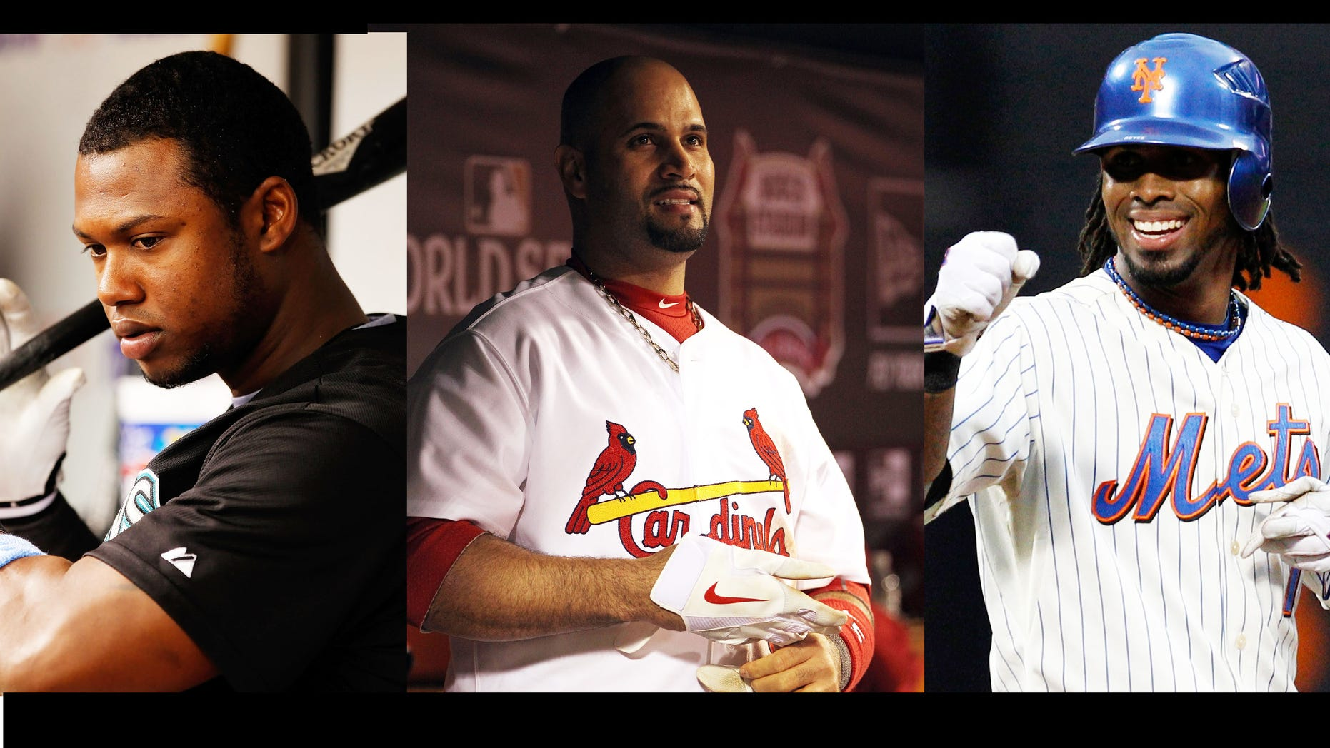Miami Marlins Shortstop Hanley Ramirez (Left), St. Louis Cardinals First Baseman Albert Pujols (Middle), and newly acquired Marlins player and former Met Jose Reyes (Right) could all be playing in the same infield next year.