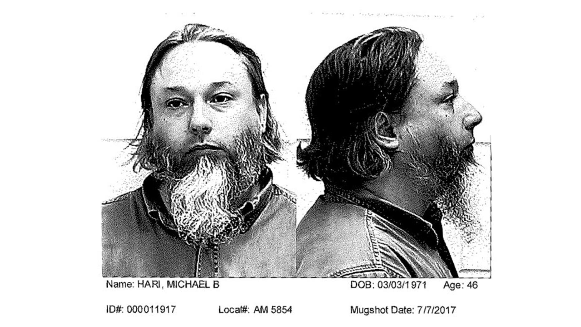 Michael Hari, seen in this July 2017 mugshot, is one of three men charged in connection with the bombing