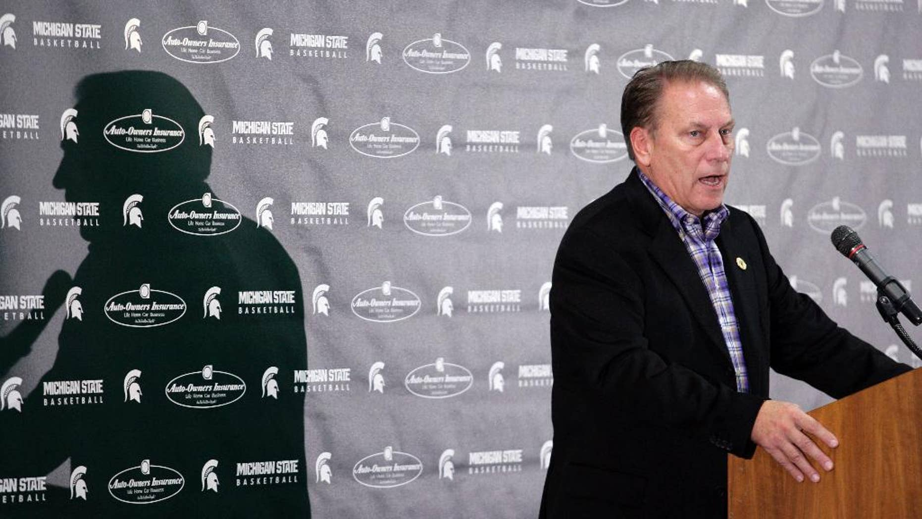 Michigan State coach Tom Izzo talks about the upcoming season during his team's NCAA college basketball media day, Tuesday, Oct. 28, 2014, in East Lansing, Mich. (AP Photo/Al Goldis)