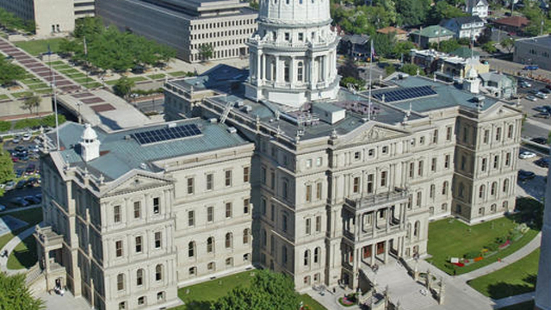 The Michigan Capitol building is seen from the Boji Tower in Lansing, Mich.