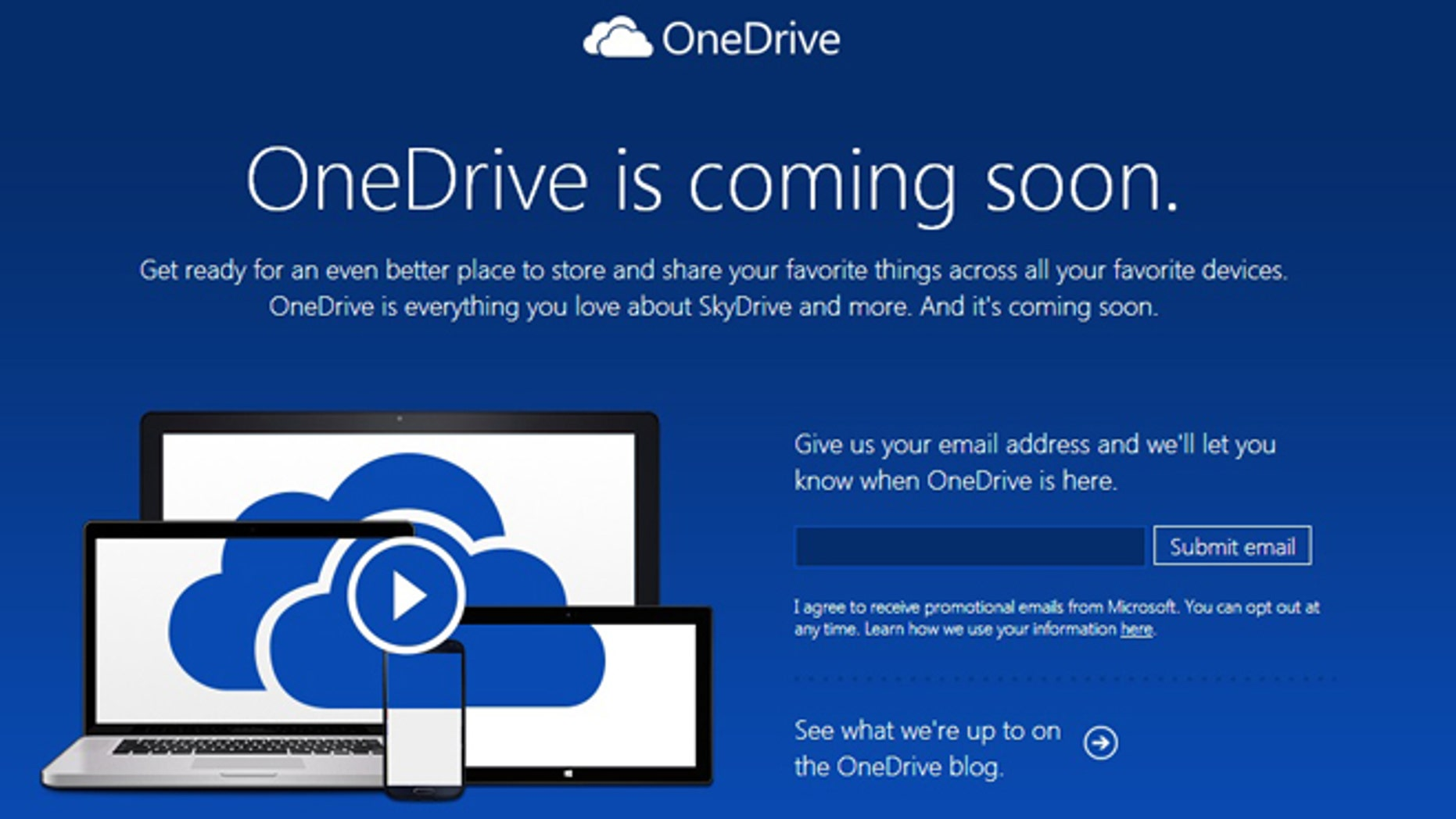 Jan. 28, 2014: A screenshot of the website fror Microsoft OneDrive, the new name for the company's SkyDrive service.