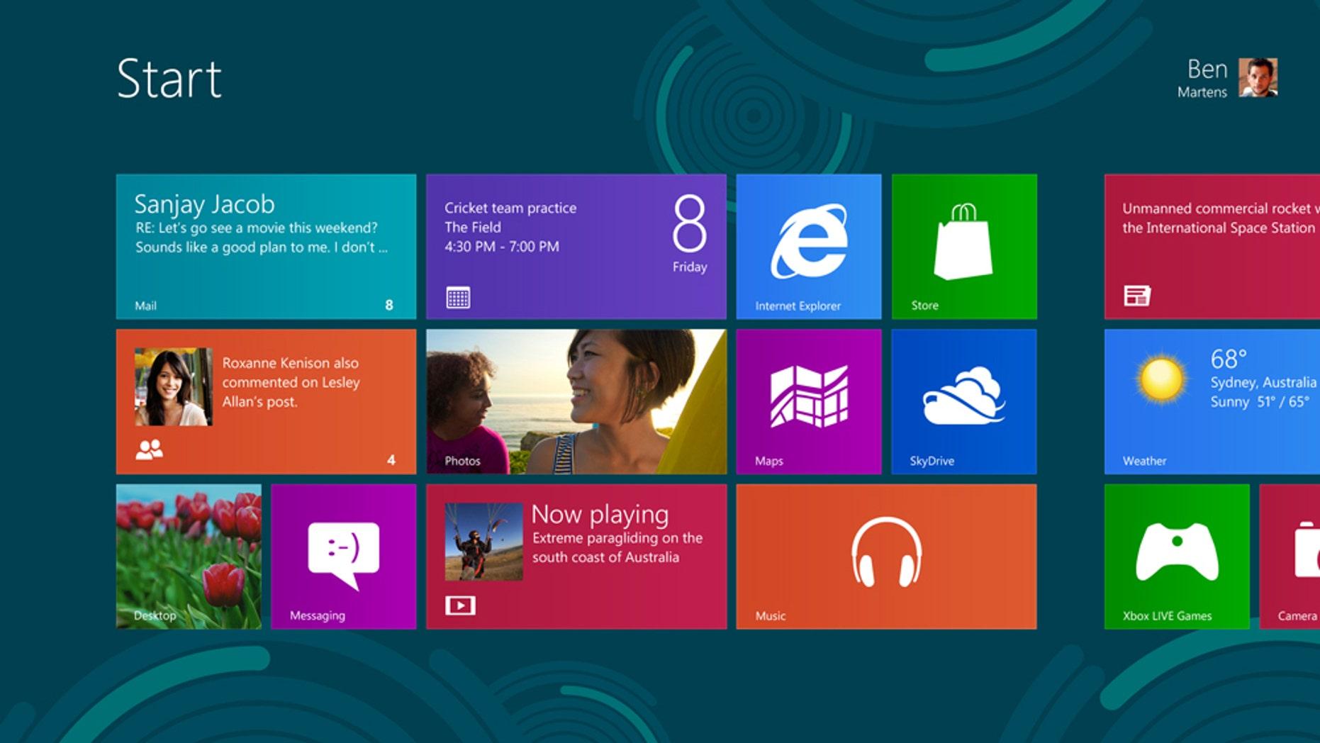 The new Windows 8 Start screen.
