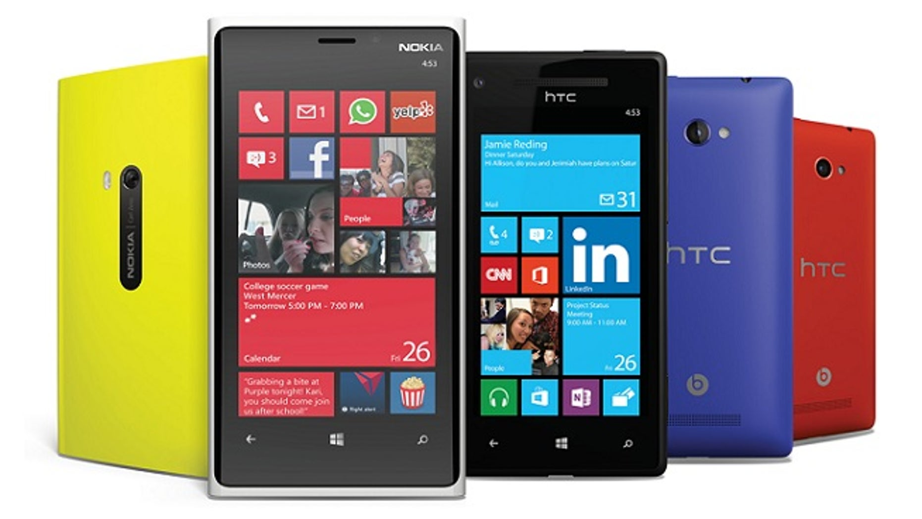 A collection of phones from different manufacturers running the newly released Windows Phone 8 softtware.