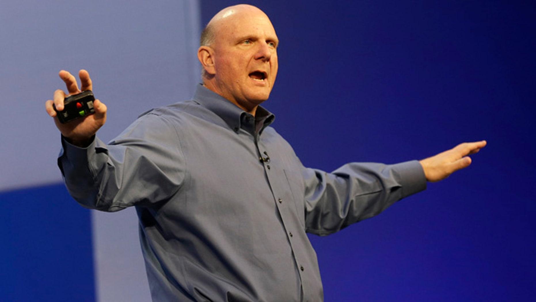 Microsoft CEO Steve Ballmer speaks at an event in San Francisco.