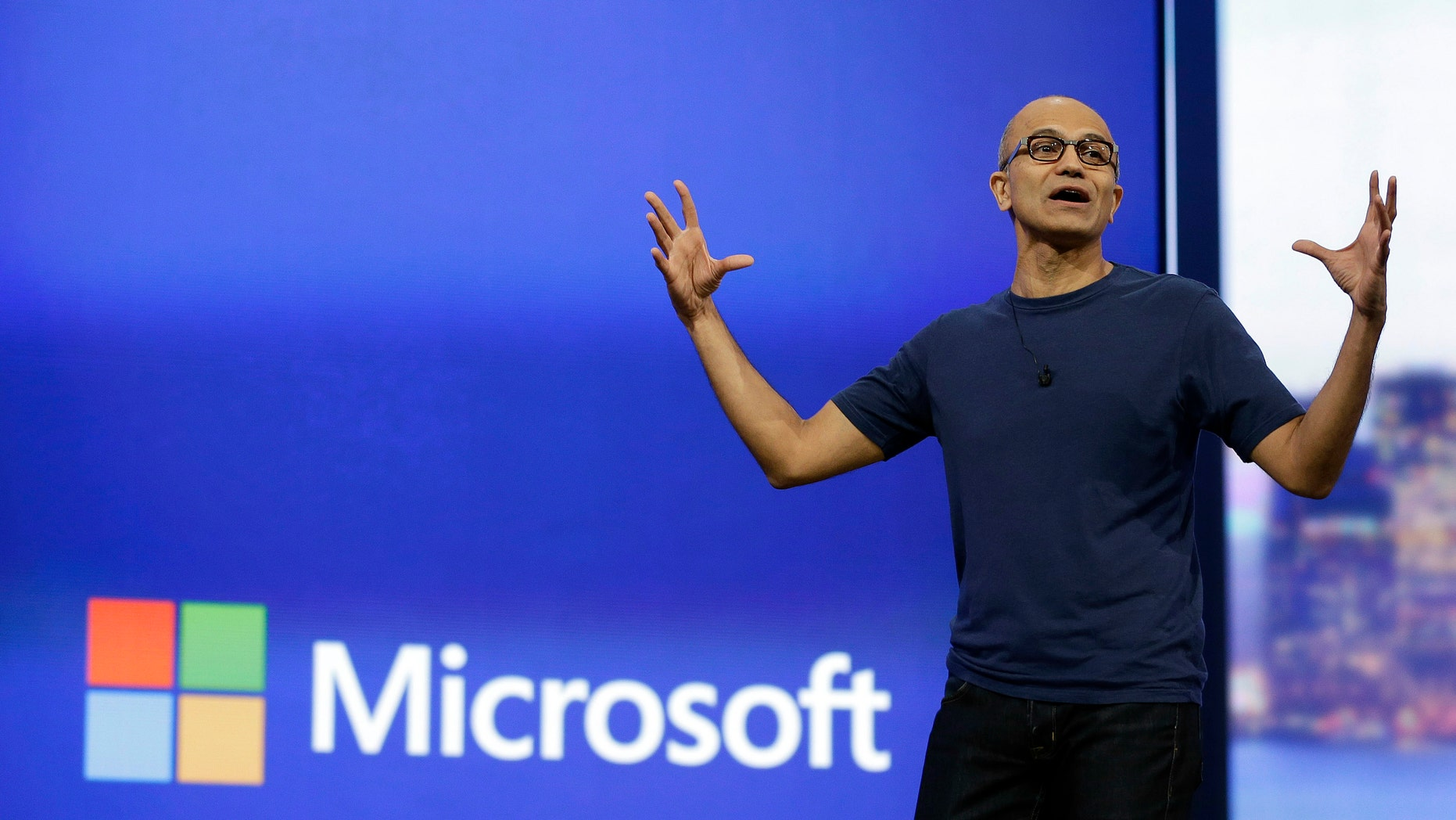 In this April 2, 2014 file photo, Microsoft CEO Satya Nadella gestures during the keynote address of the Build Conference in San Francisco.