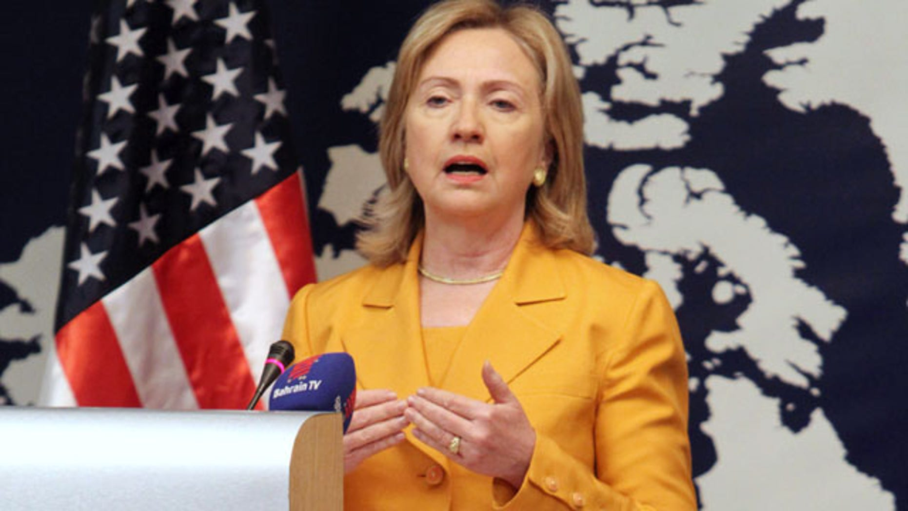 Dec. 3: U.S. Secretary of State Hillary Clinton speaks at a press conference in Manama, Bahrain.