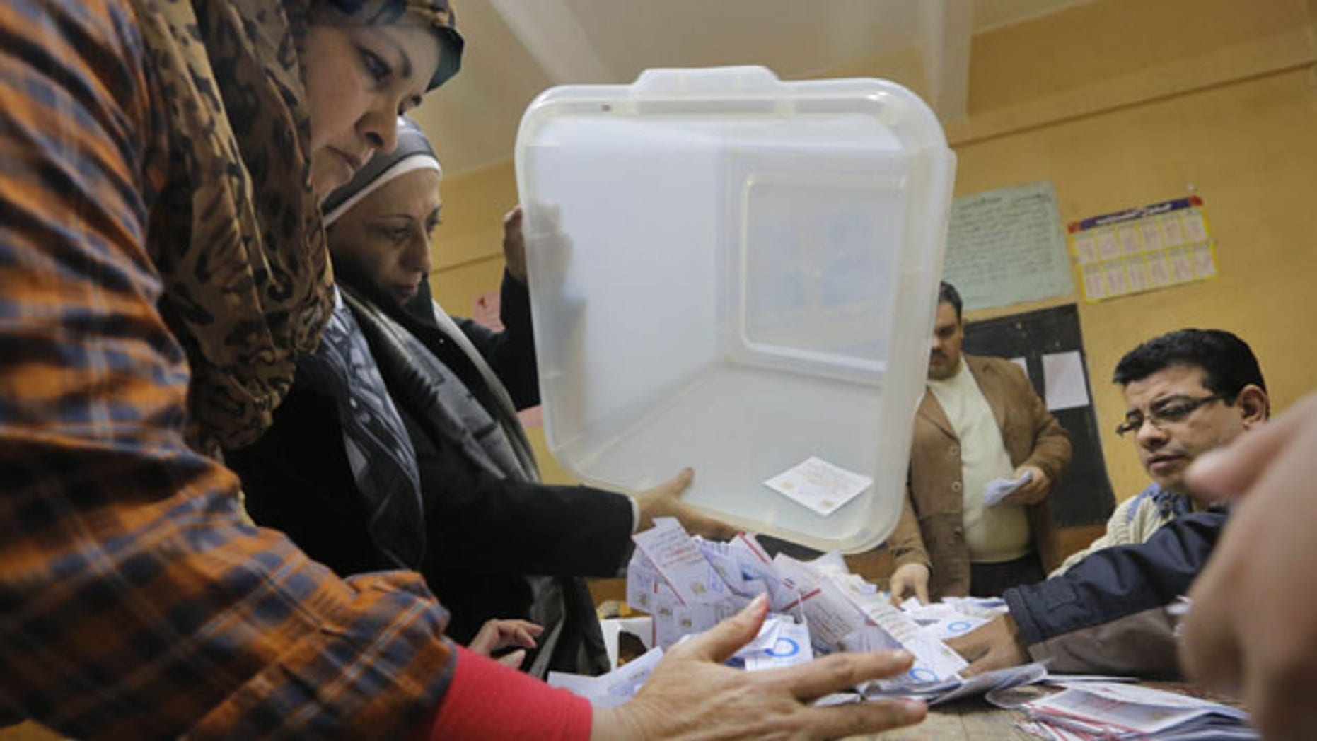 January 15, 2014: Election workers empty a ballot box at the end of the second, final day of a key referendum on a new constitution, inside a polling station in Cairo, Egypt.