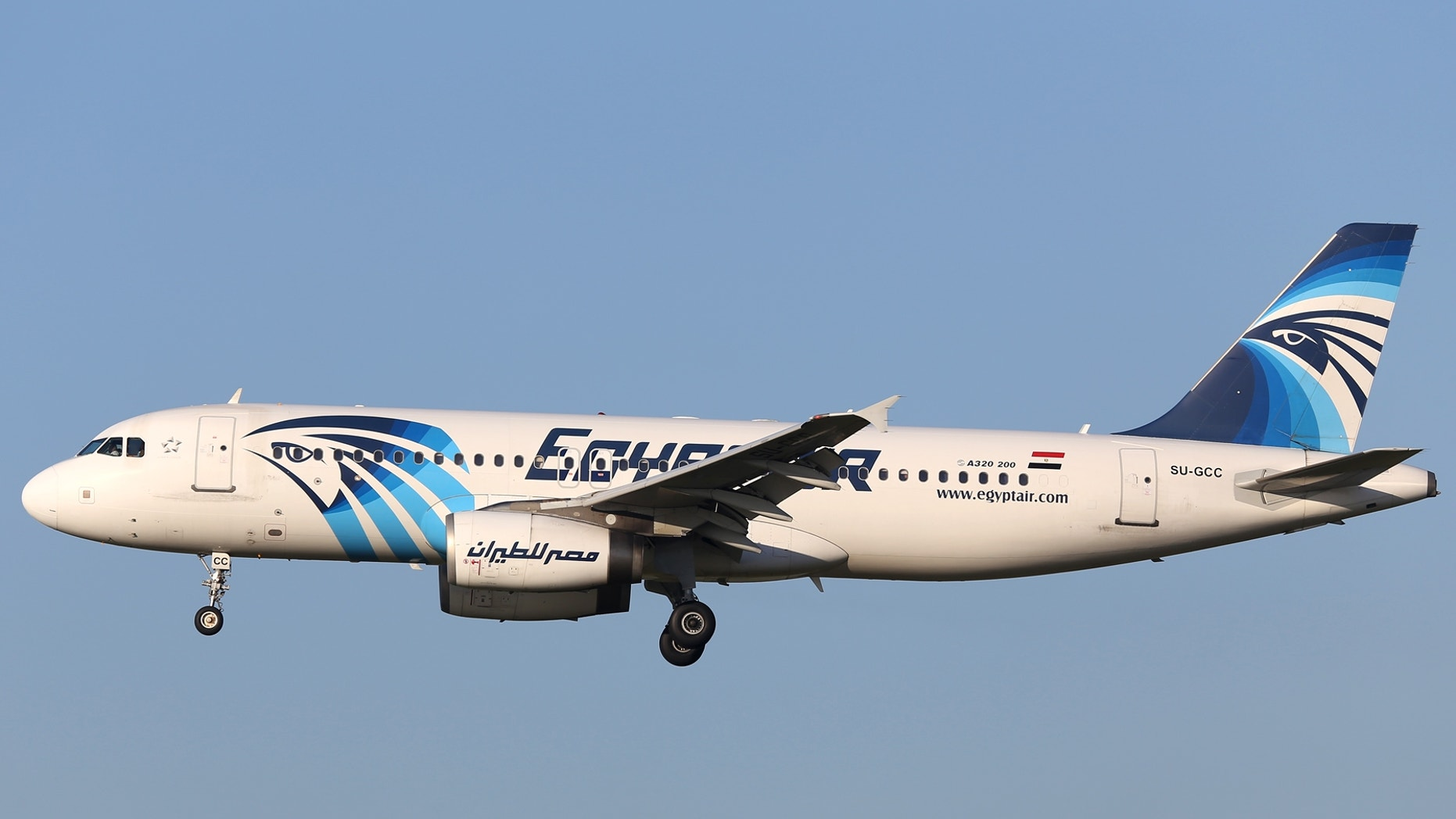 This is a Jan 2015 image of  EgyptAir Airbus A320 with the registration SU-GCC in the air near Zaventem airport in Brussels.