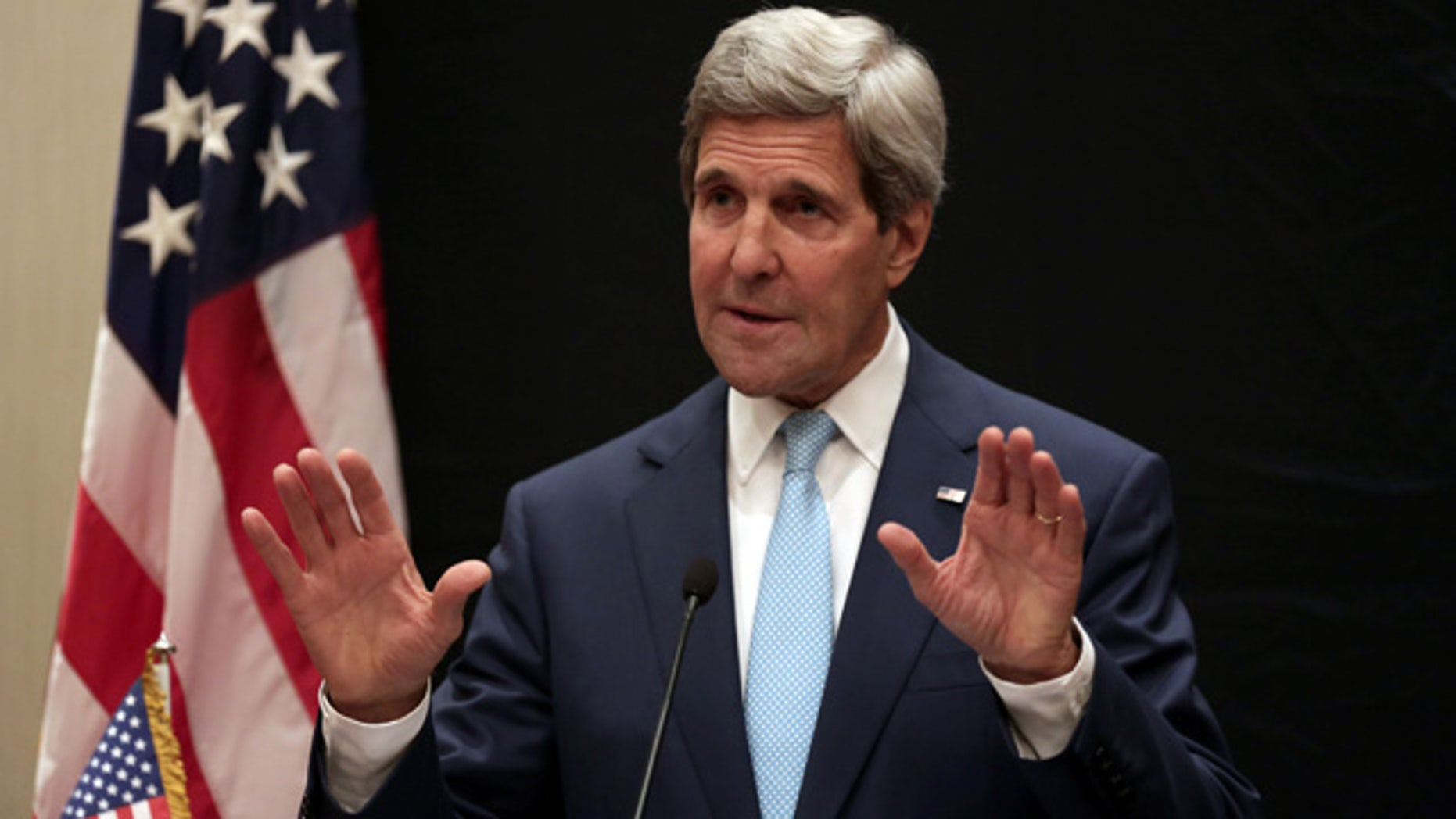 June 22, 2014: U.S. Secretary of State John Kerry speaks during a joint news conference with Egyptian Foreign Minister Sameh Shoukry following his meeting with Egyptian President Abdel-Fattah el-Sissi in Cairo. (AP Photo/Maya Alleruzzo)