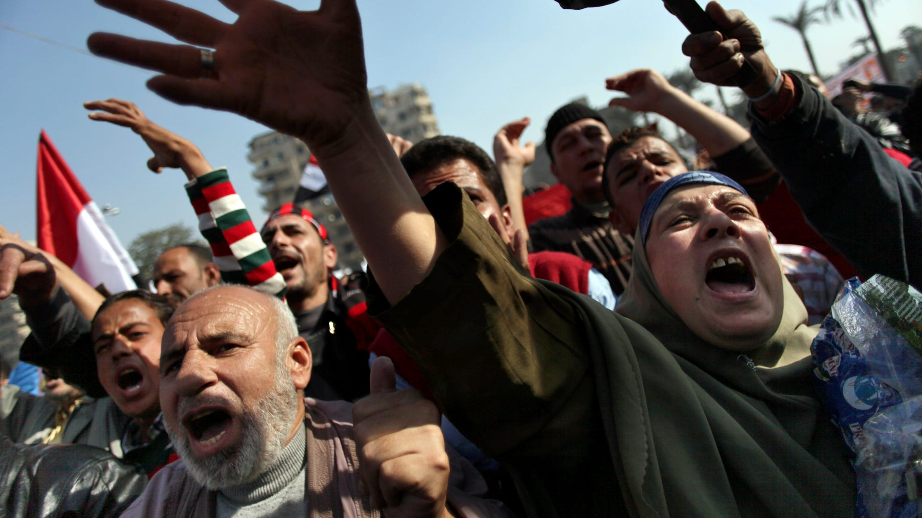 Nov. 30, 2012 - Egyptian protesters chant anti-Muslim Brotherhood slogans as they attend a rally in Tahrir Square, in Cairo, Egypt.