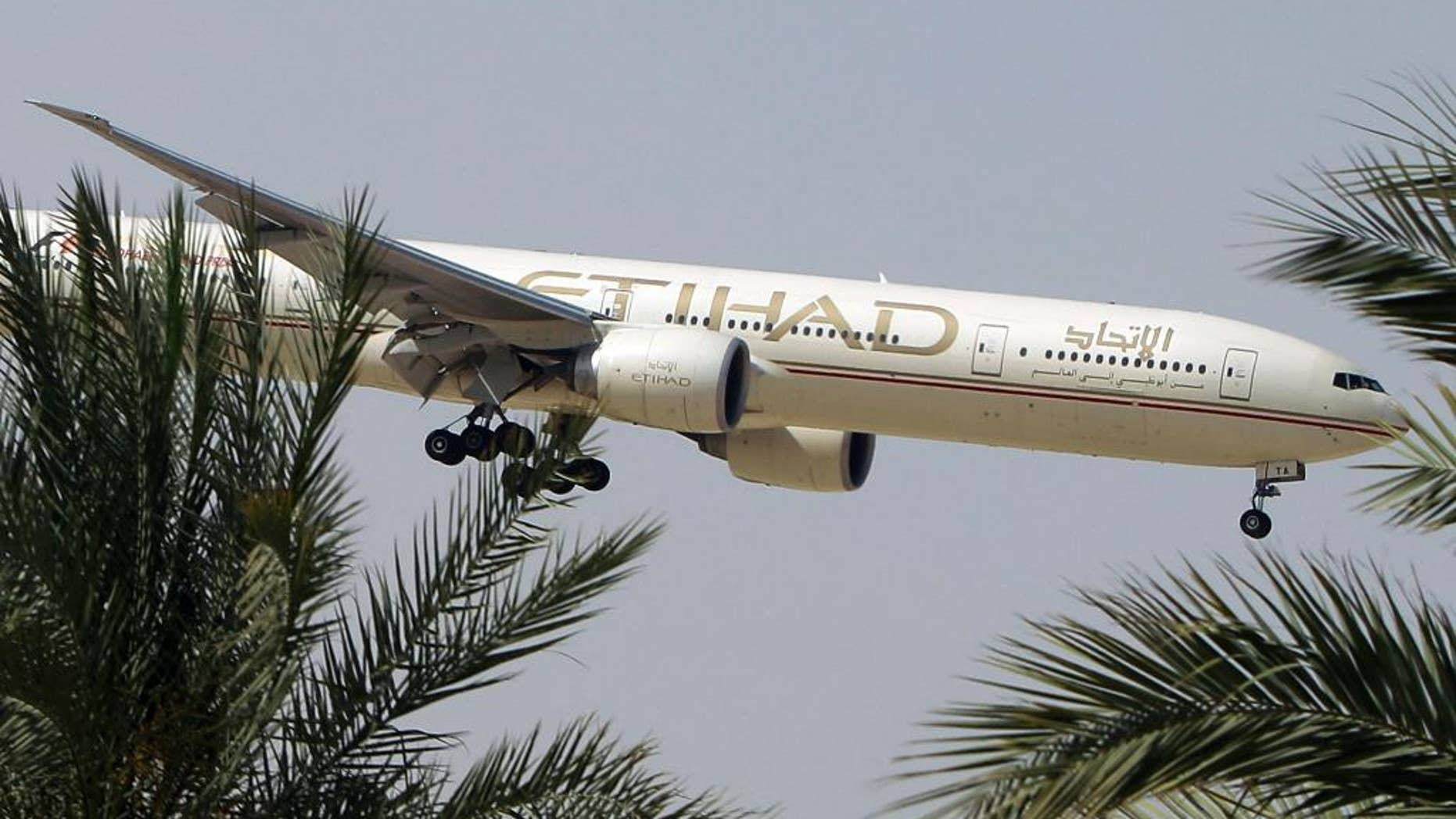 FILE- In this Sunday, May 4, 2014 file photo, an Etihad Airways plane prepares to land in Abu Dhabi Airport, United Arab Emirates. Jetliners from the United Arab Emirates' two main airlines apparently got too close to each other over the Indian Ocean this week. (AP Photo/Kamran Jebreili, File)
