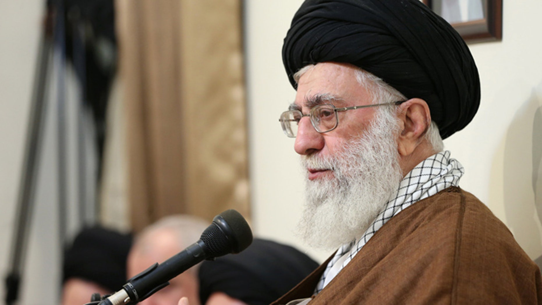 Oct. 19, 2015: Iranian Supreme Leader, Ayatollah Ali Khamenei delivers a speech during a meeting with the officials.