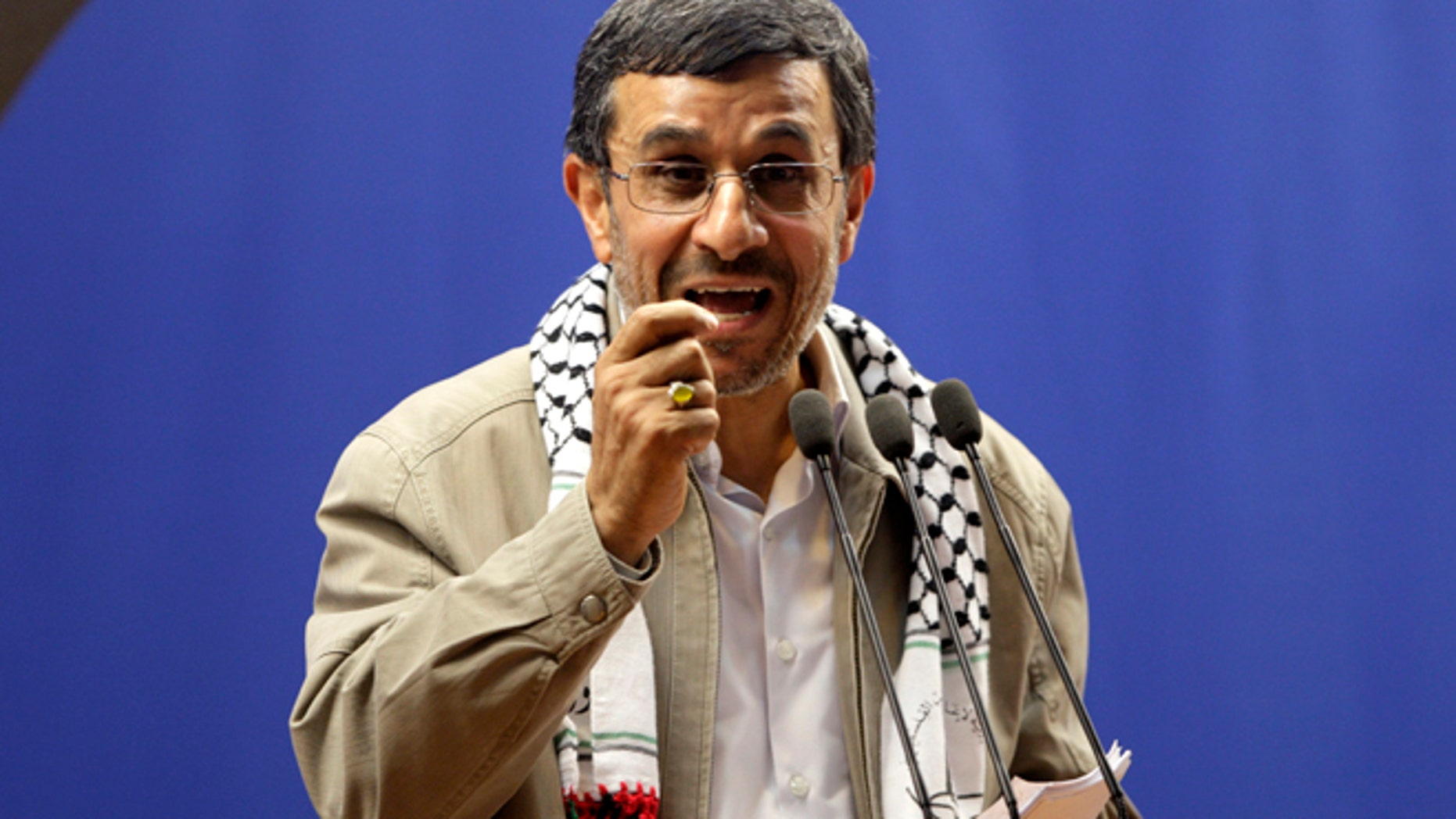 Aug. 17, 2012: Iranian President Mahmoud Ahmadinejad speaks at the conclusion of an annual pro-Palestinian rally in Tehran.