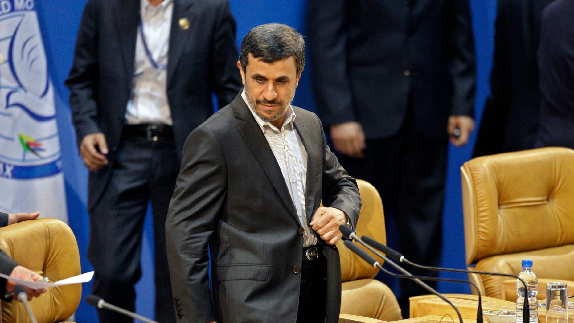 Iranian President Mahmoud Ahmadinejad takes his seat in the afternoon session of the Nonaligned Movement summit, in Tehran, Iran, Thursday, Aug. 30, 2012. (AP Photo/Vahid Salemi)