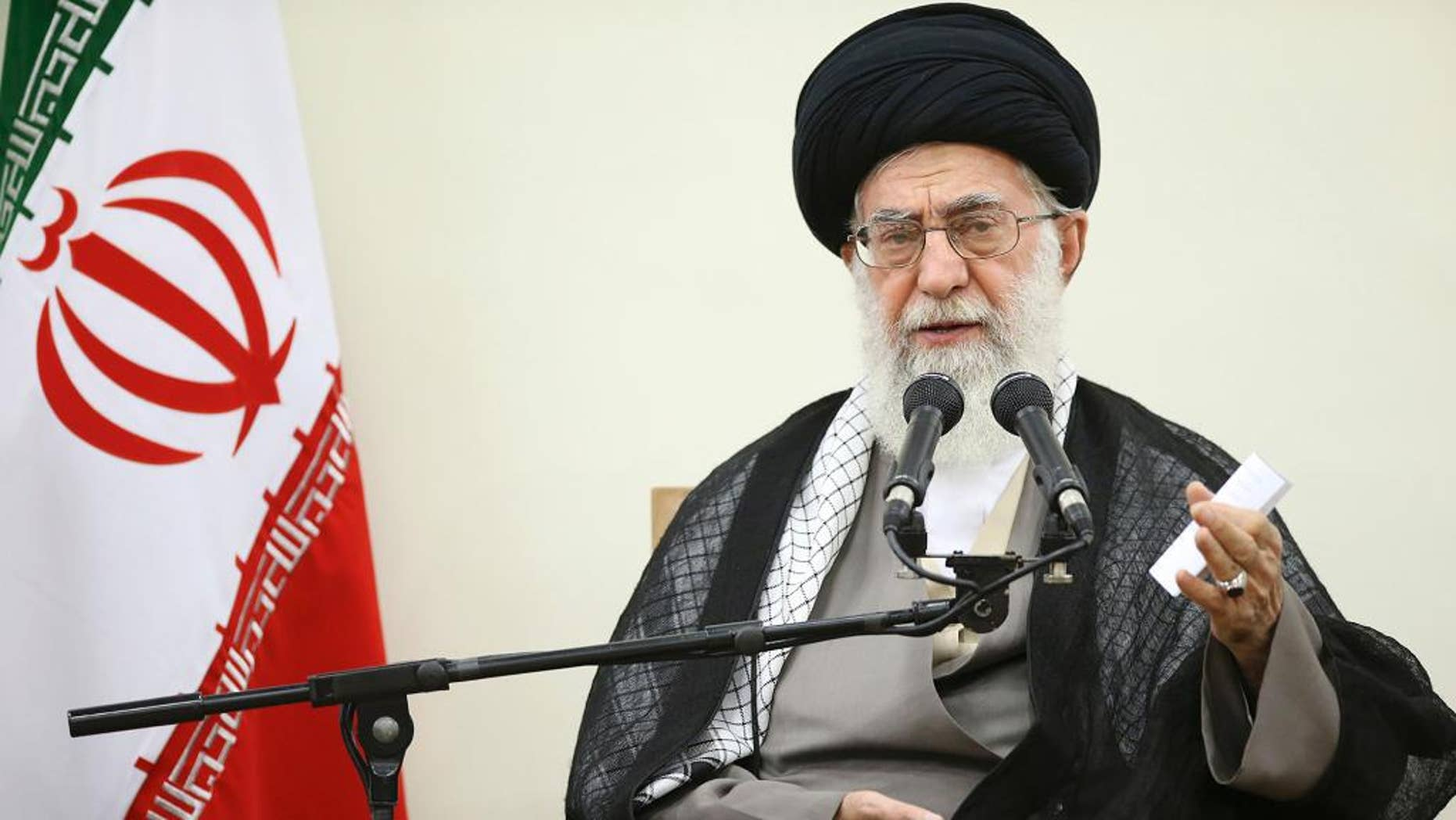 """In this picture released by the official website of the office of the Iranian supreme leader, Supreme Leader Ayatollah Ali Khamenei delivers a speech during a meeting in Tehran, Wednesday, Sept. 9, 2015.  Khamenei said Wednesday that his country will not enter into talks with the United States outside of the nuclear deal with world powers as Washington could use other negotiations to """"penetrate"""" the Islamic Republic. Khamenei's comments, published on his website, came as enough U.S. lawmakers now support the nuclear deal to block passage of a resolution of disapproval. (Office of the Iranian Supreme Leader via AP)"""