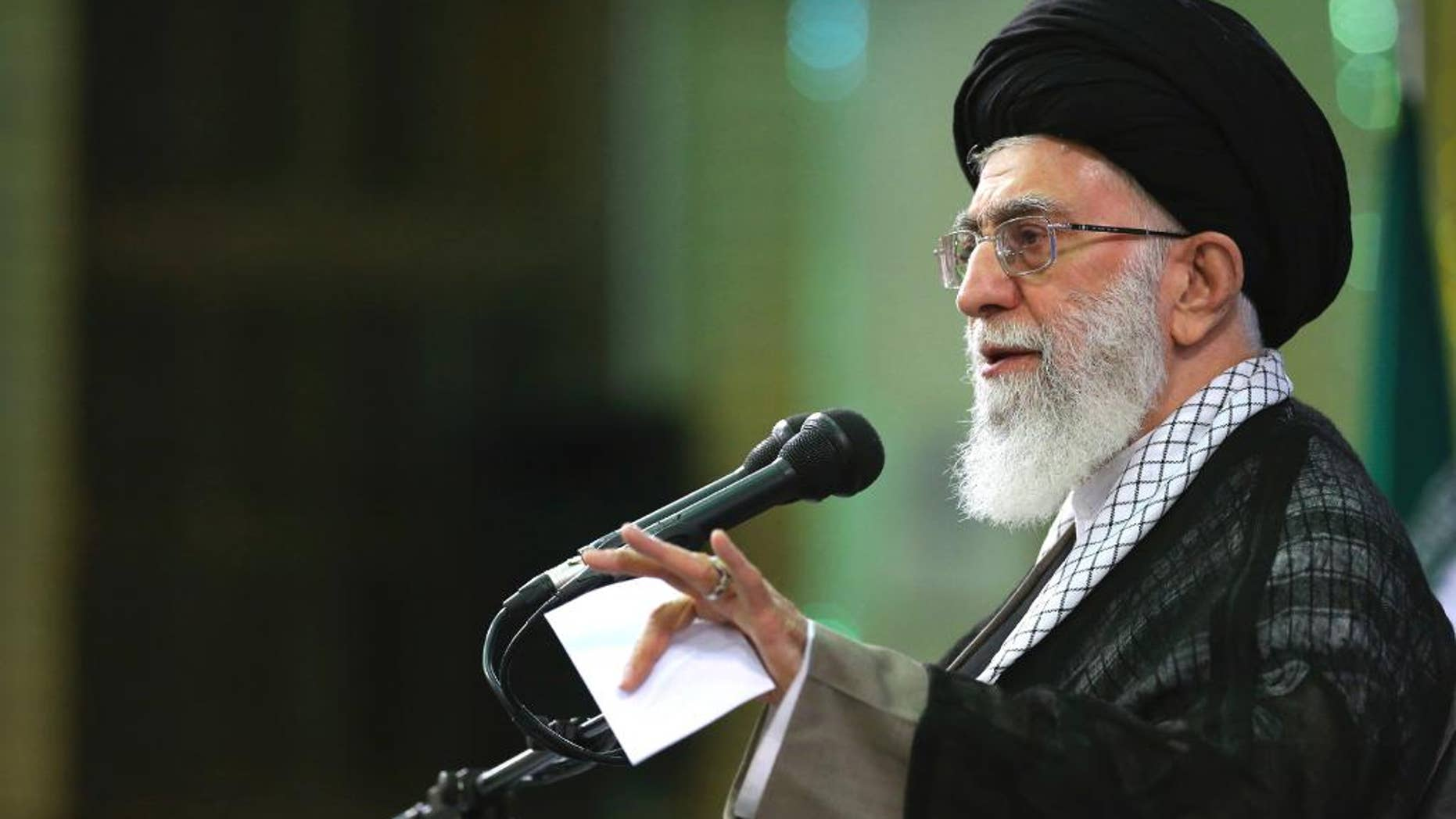 In this picture released by an official website of the office of the Iranian supreme leader on Saturday, May 16, 2015, Supreme Leader Ayatollah Ali Khamenei speaks in a meeting in Tehran, Iran.  Iran's supreme leader said Saturday the U.S. only is pursuing its own interests amid worries about safety in the waterways of the Persian Gulf, just after U.S. President Barack Obama hosted Arab leaders at Camp David to assuage their security concerns. (Office of the Iranian Supreme Leader via AP)